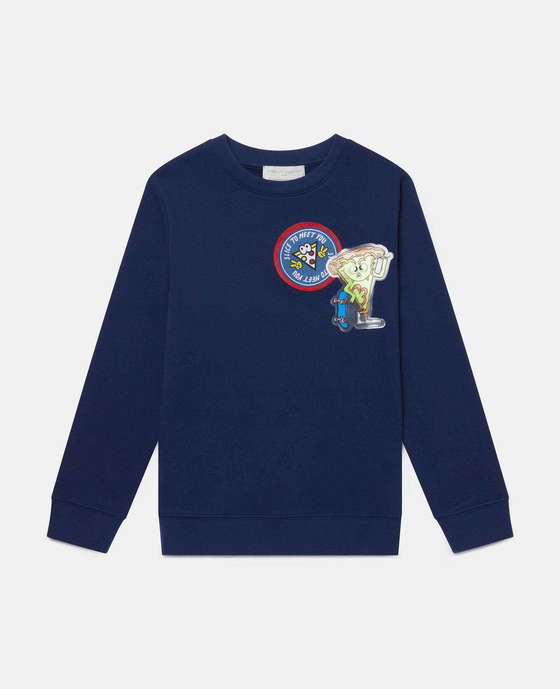 Sweat-shirt en polaire à écussons pizza-Bleu-large image number 0