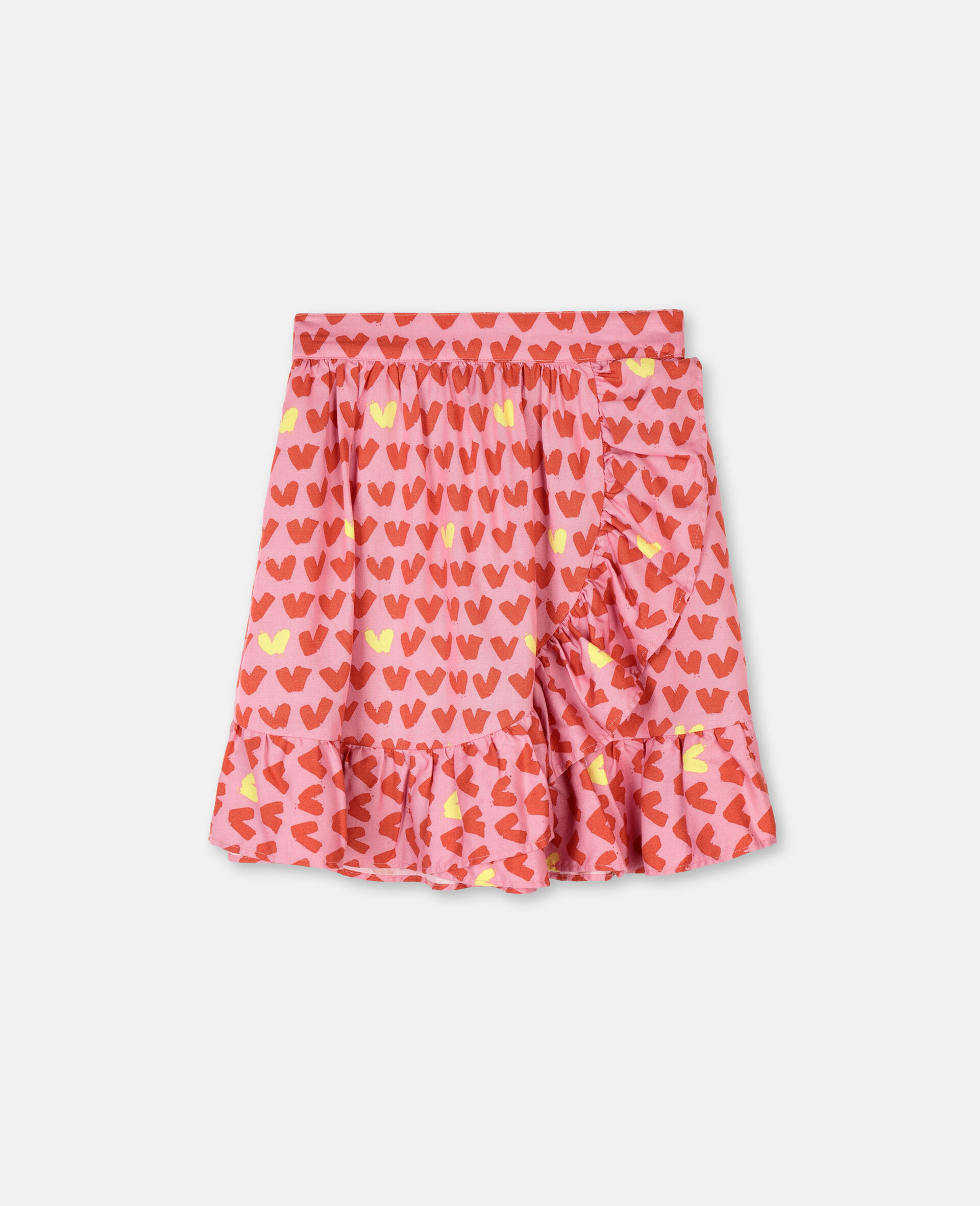 Hearts Viscose Twill Skirt -Pink-large image number 0