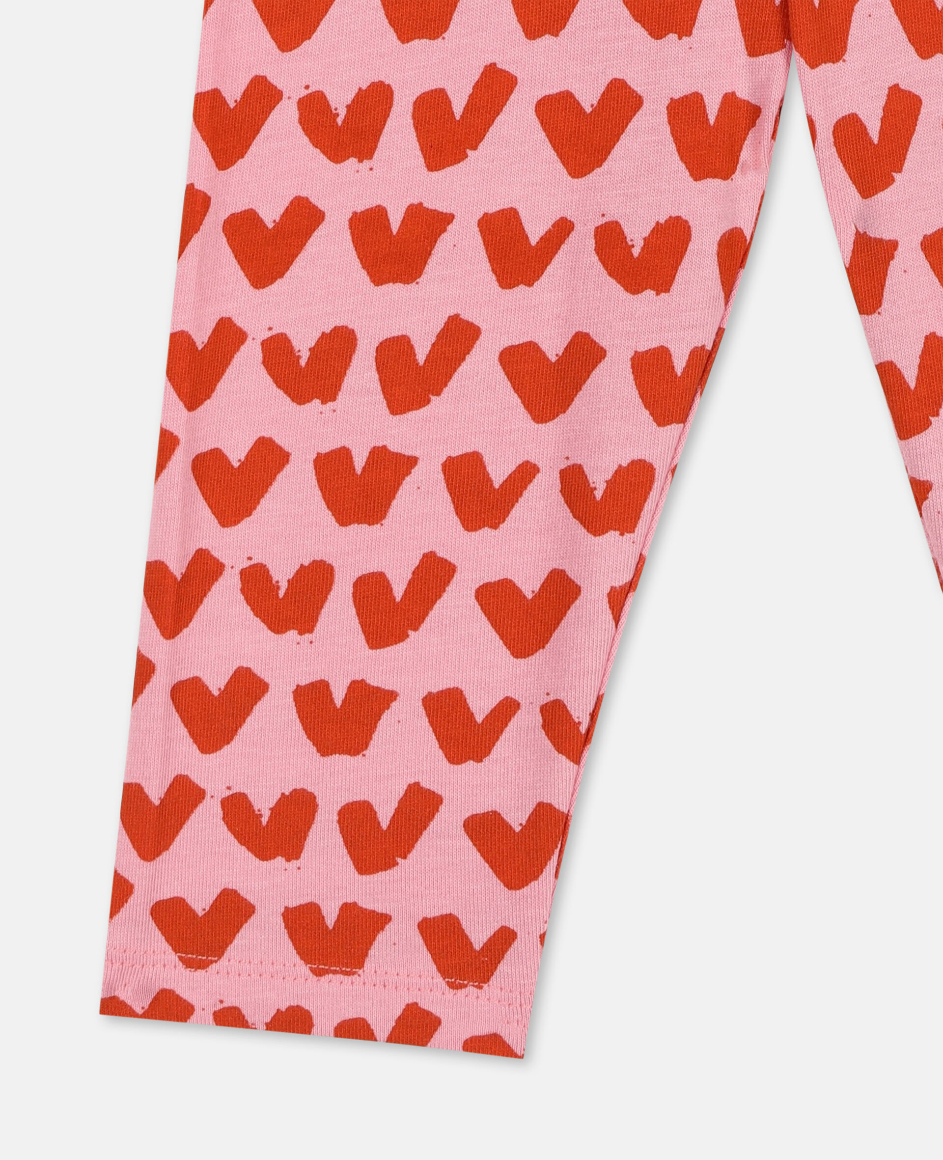 Hearts Cotton Leggings -Pink-large image number 1
