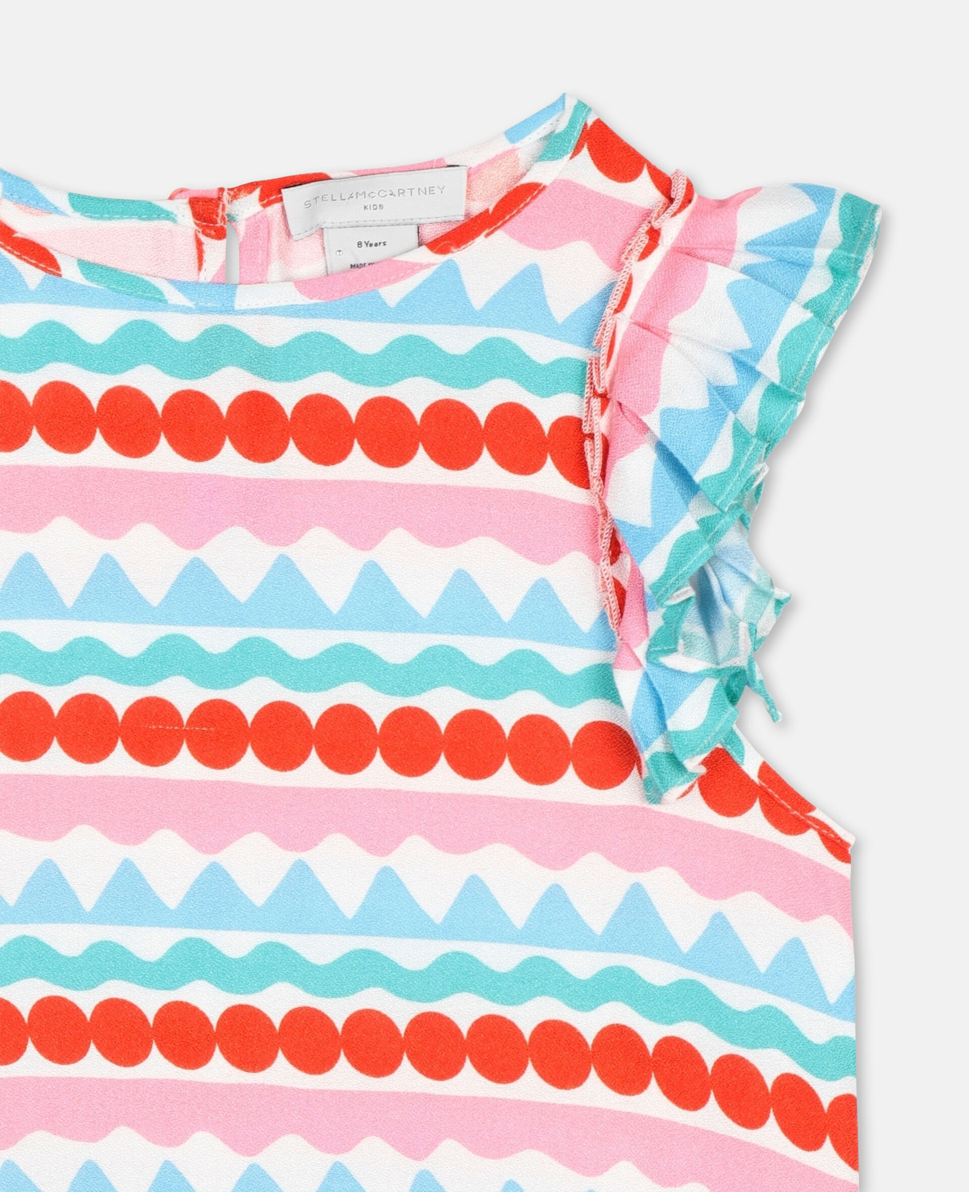 Graphic Stripes Viscose Crepe Top-Multicolour-large image number 1