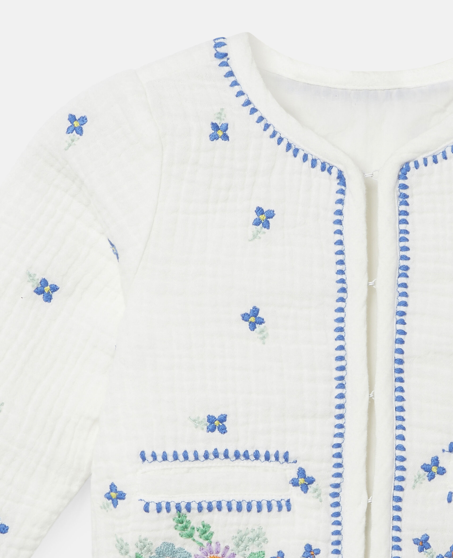 Embroidered Flowers Cotton Jacket-White-large image number 1