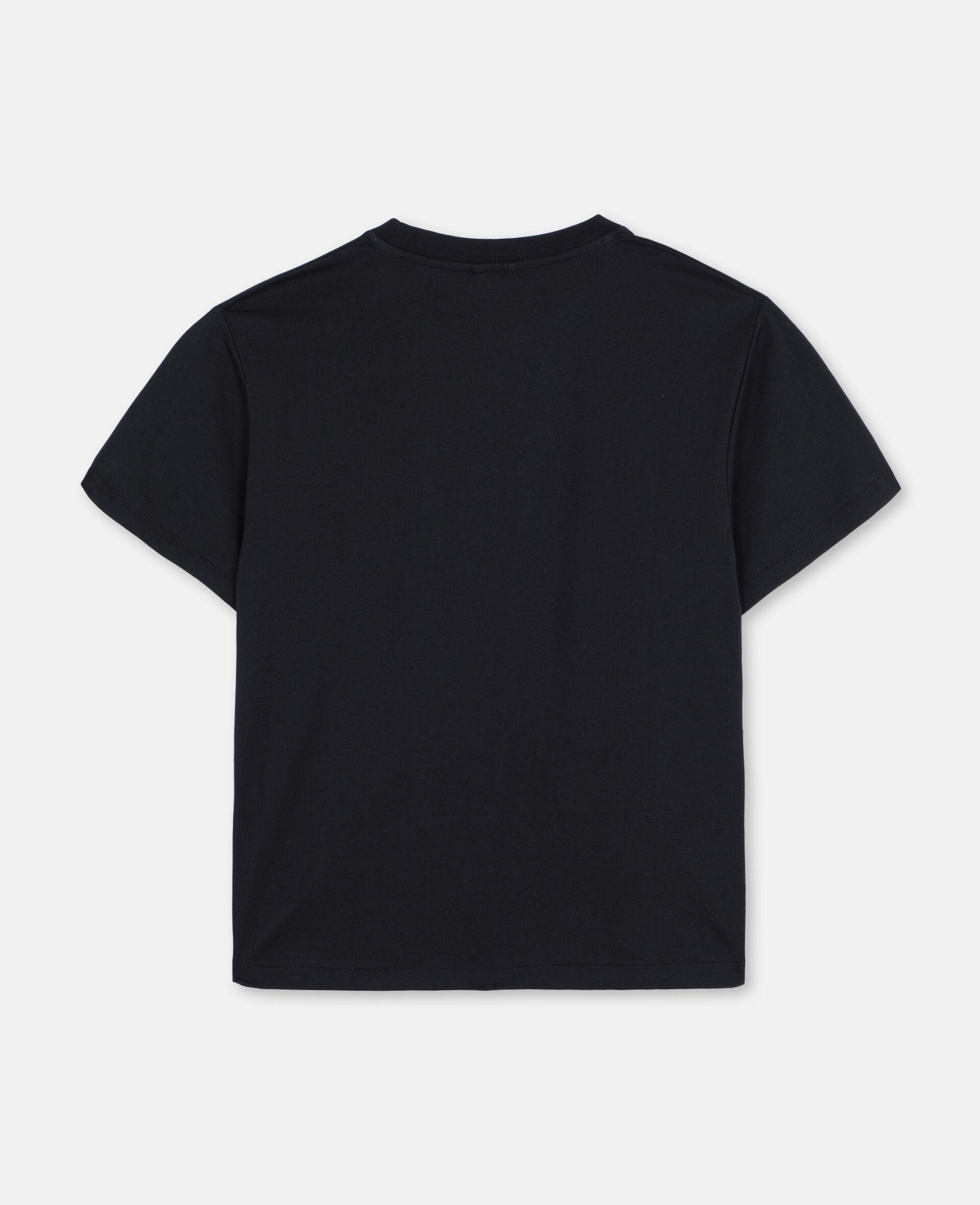 Oversize Skater Cotton T-shirt -Black-large image number 3