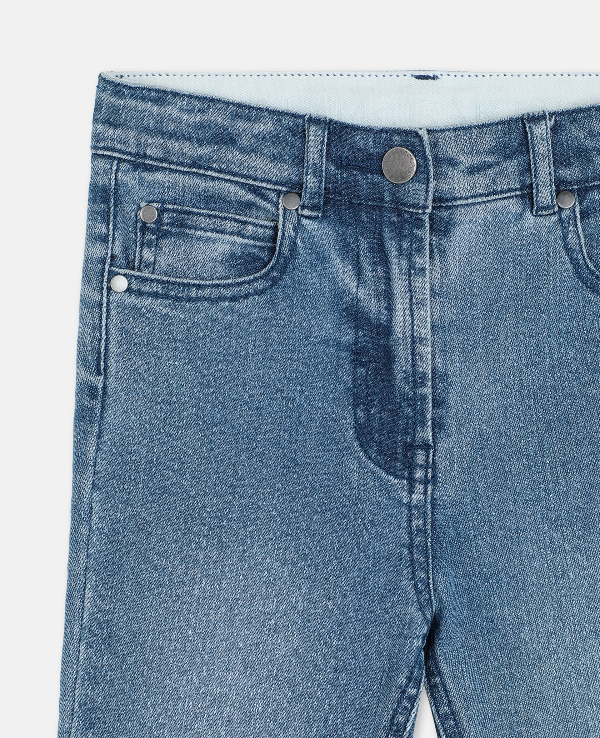 Butterfly Patch Flared Denim Pants-Blue-large image number 1
