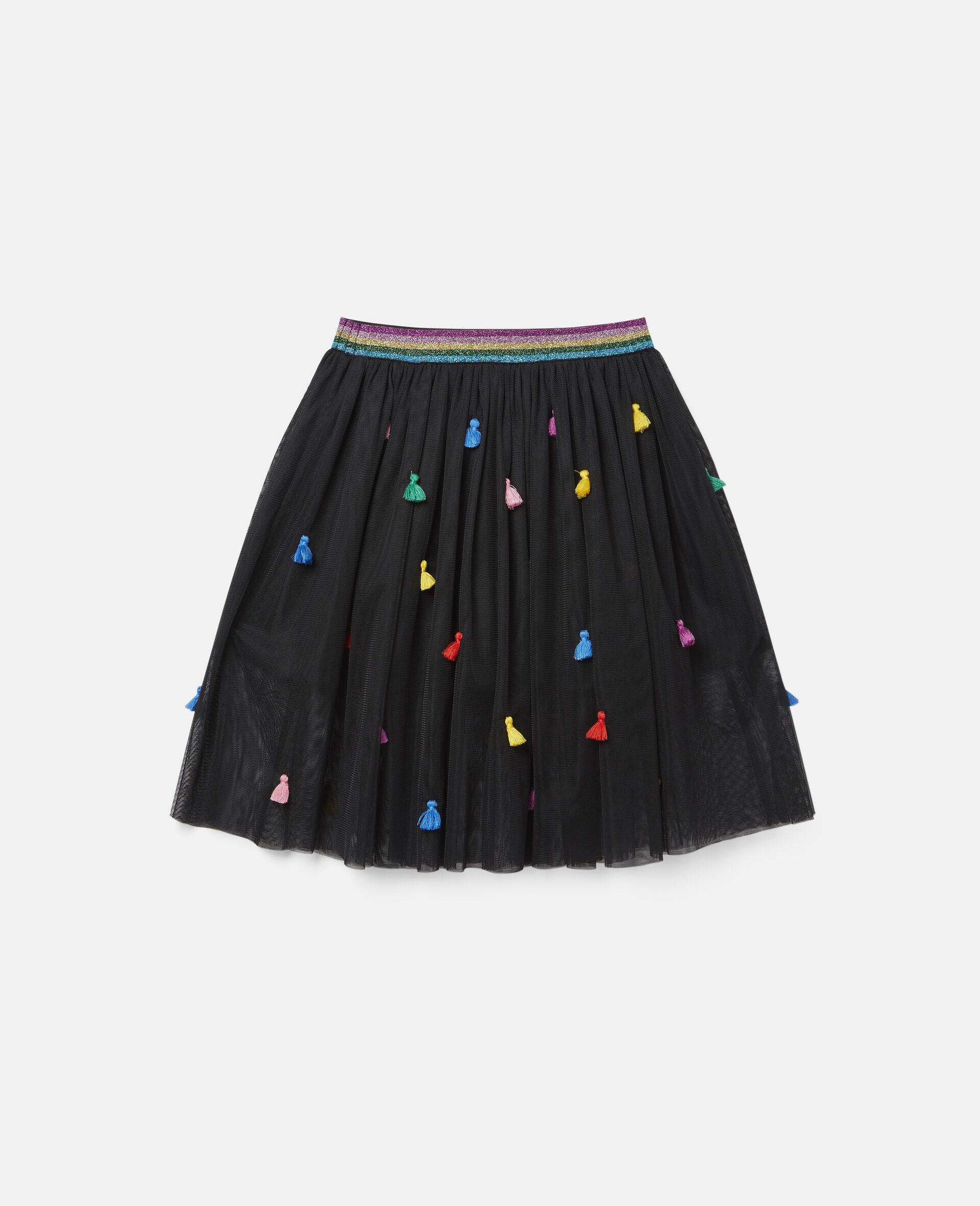 Tassels Tulle Skirt -Black-large image number 3