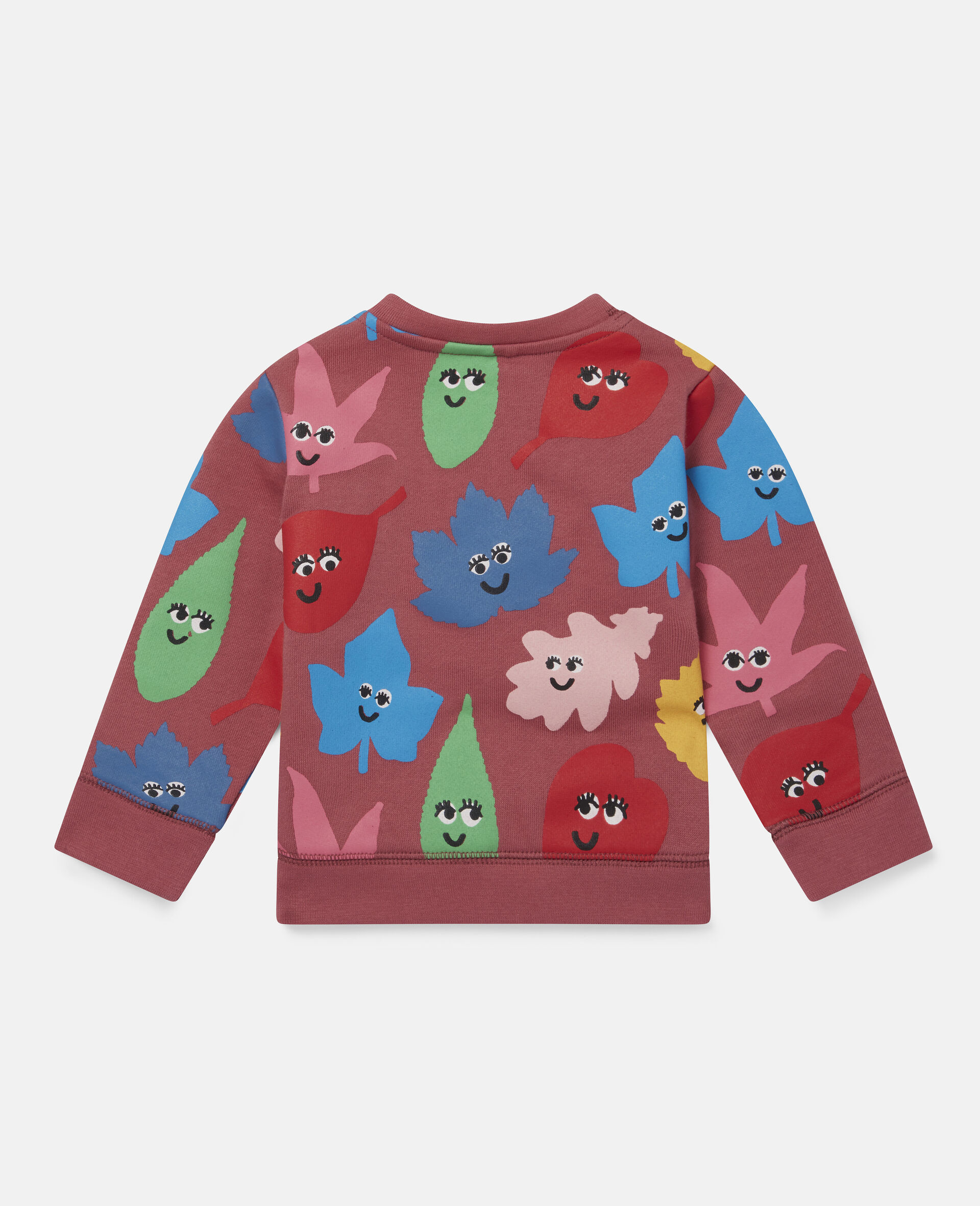 Smiley Leaves Fleece Sweat-Red-large image number 3