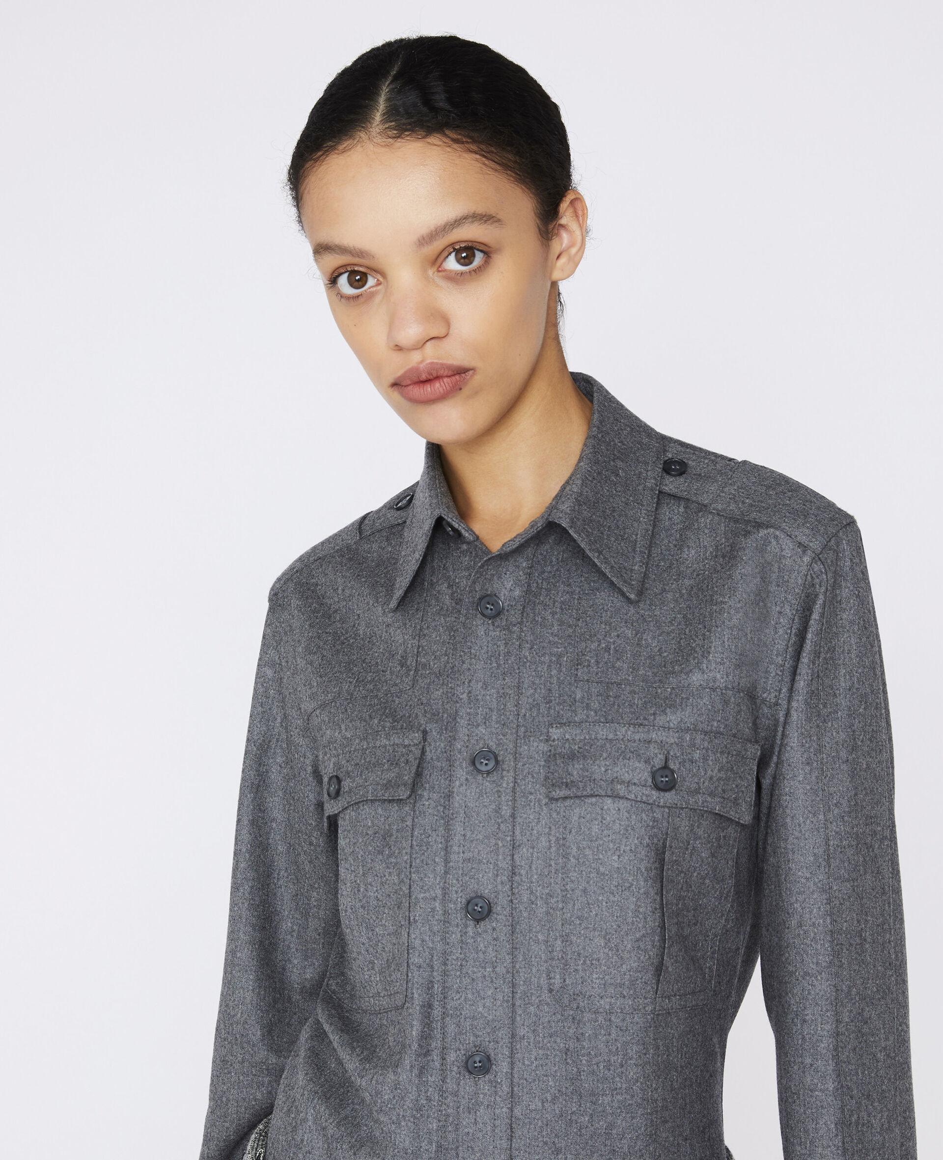 Wool Flannel Shirt-Grau-large image number 3