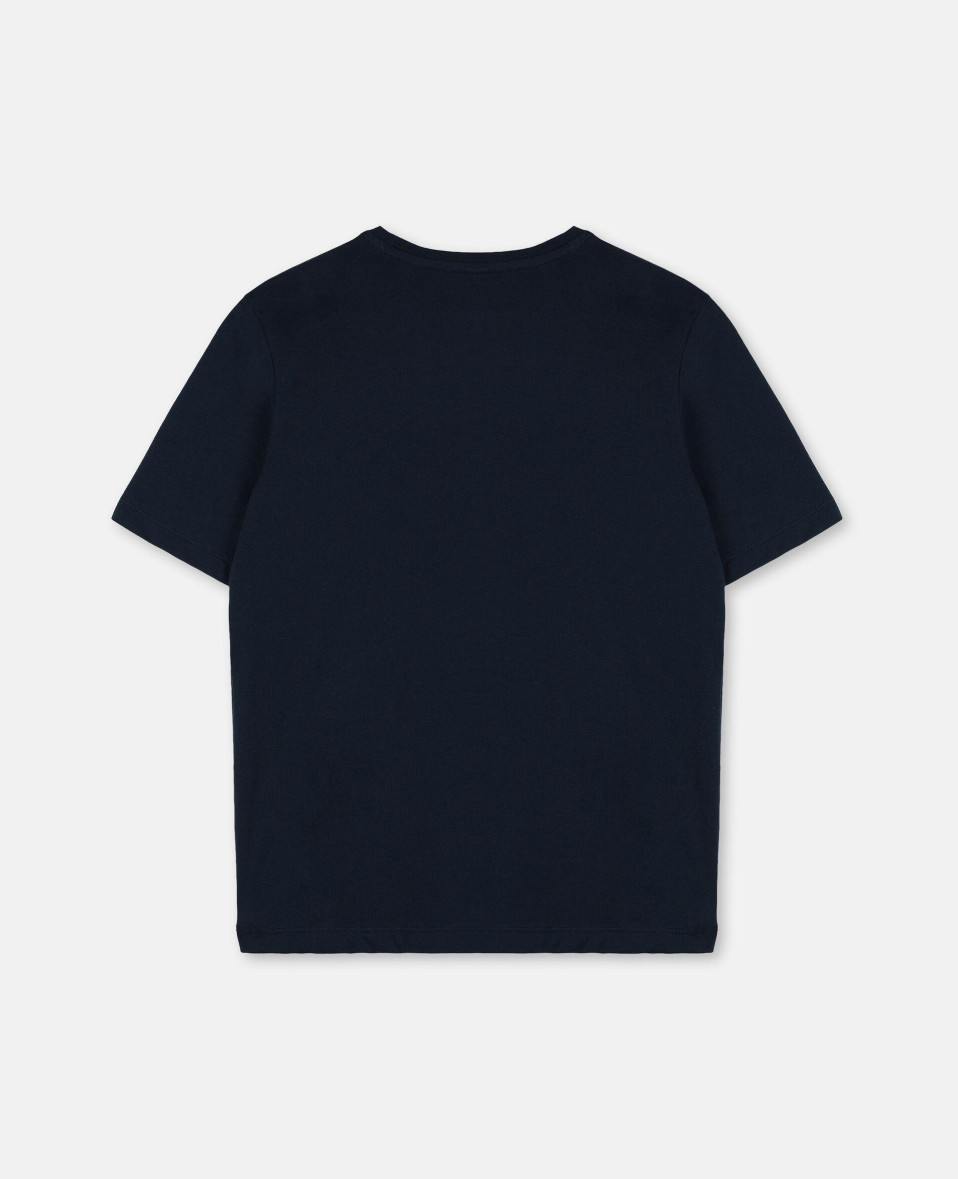 パーム オーバーサイズ コットン ロゴ Tシャツ-ブルー-large image number 3
