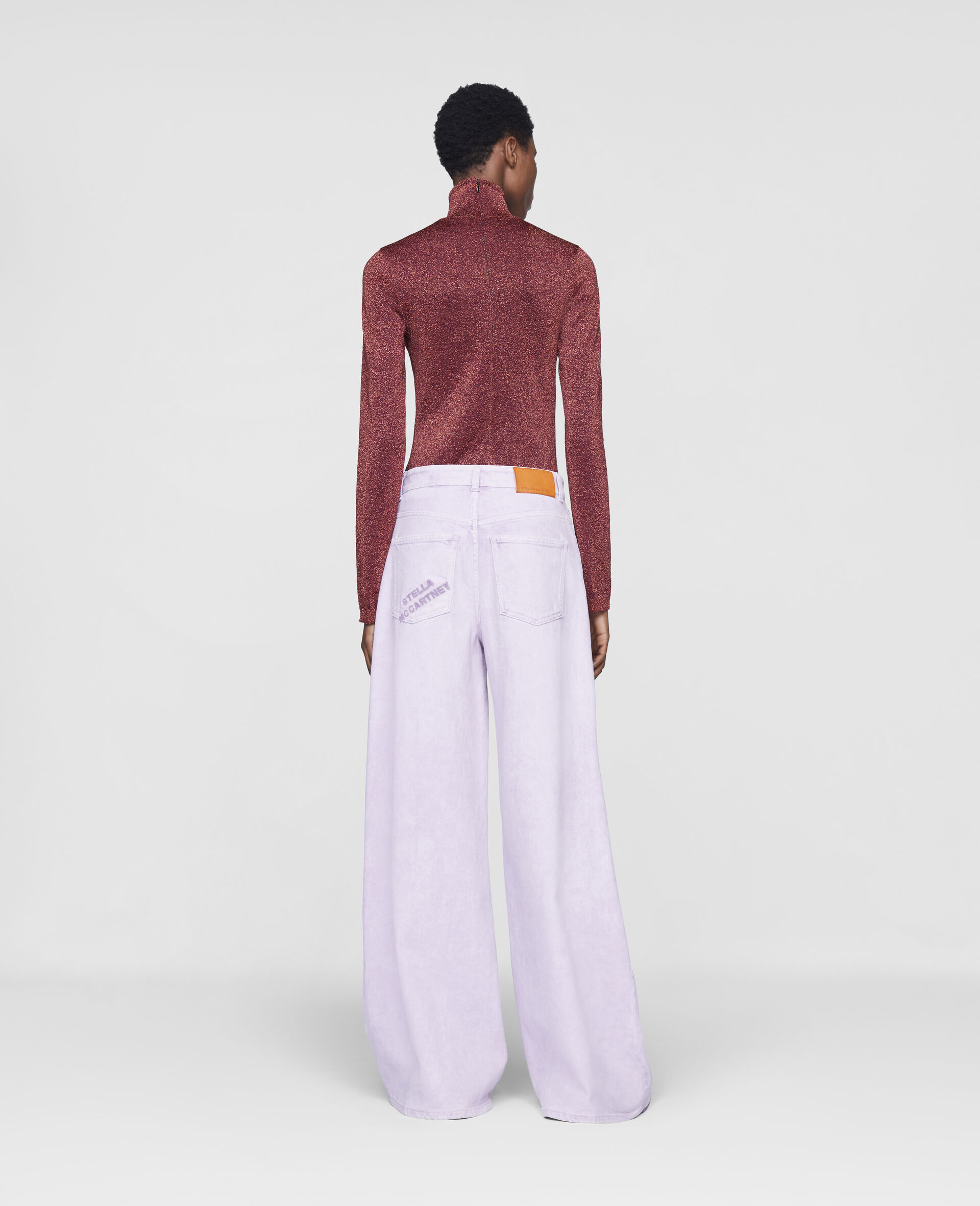 Flared Denim Trousers-Purple-large image number 2