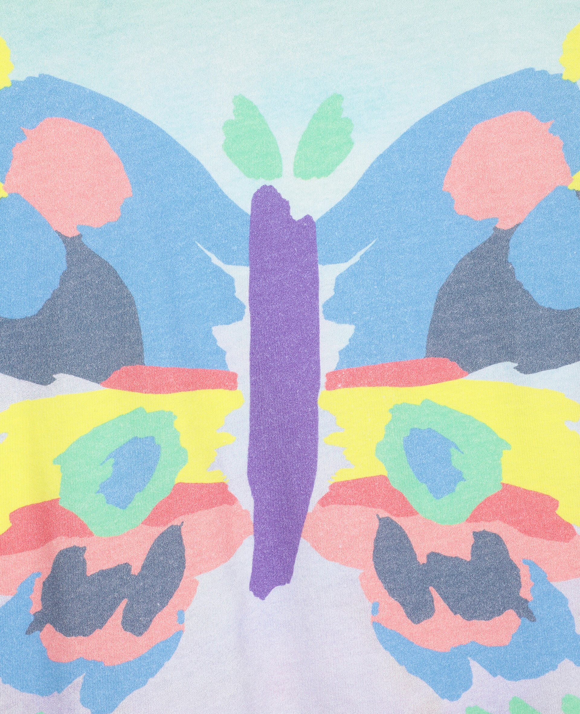 Baumwoll-T-Shirt mit Schmetterling-Print-Bunt-large image number 1
