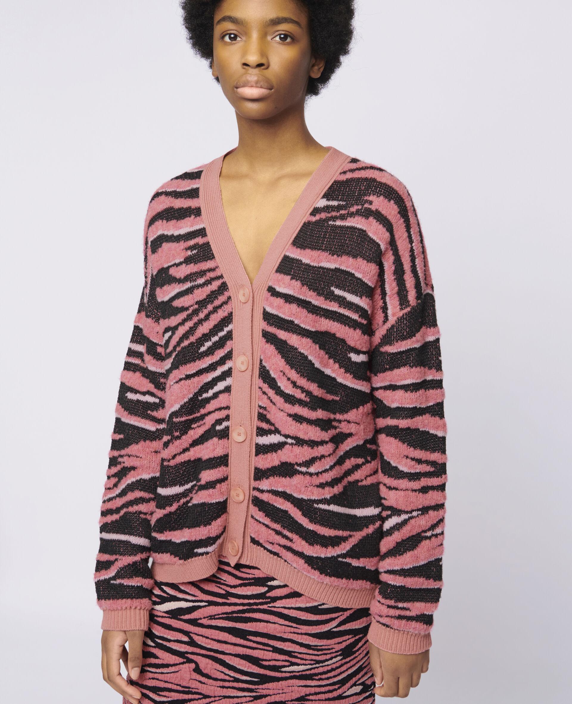Animal Pattern Cardigan-Pink-large image number 3