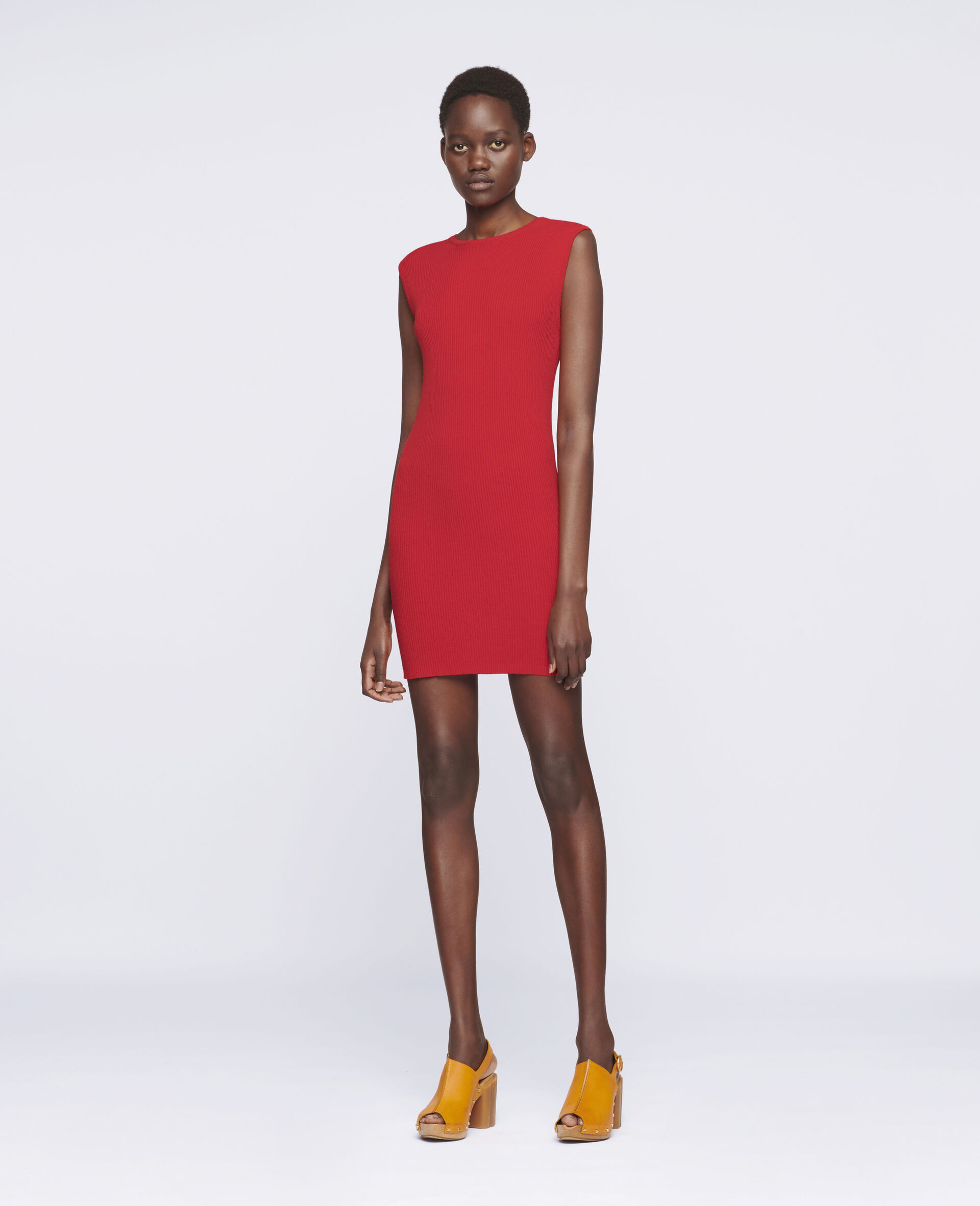 Sleeveless Mini Dress-Red-large image number 1