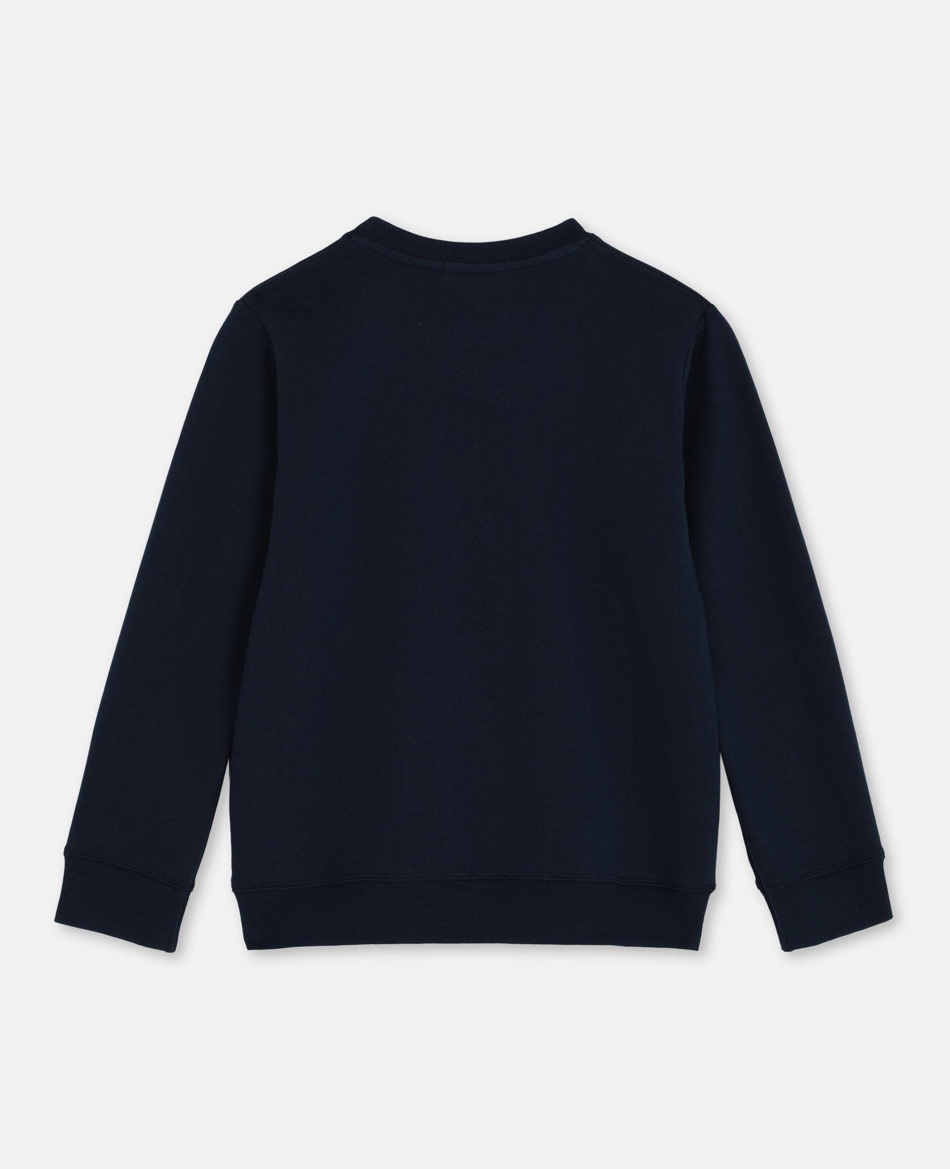 Logo Oversize Cotton Fleece Sweatshirt-Blue-large image number 3