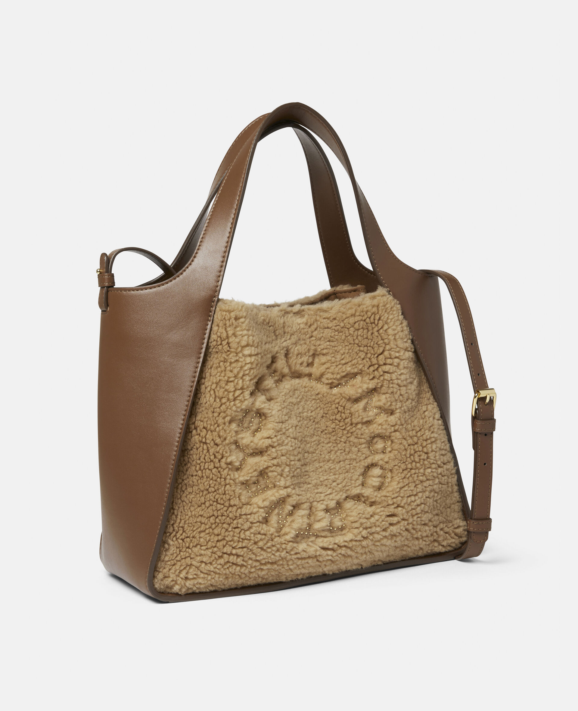 Stella Logo Teddy Mat Crossbody Bag -Brown-large image number 1