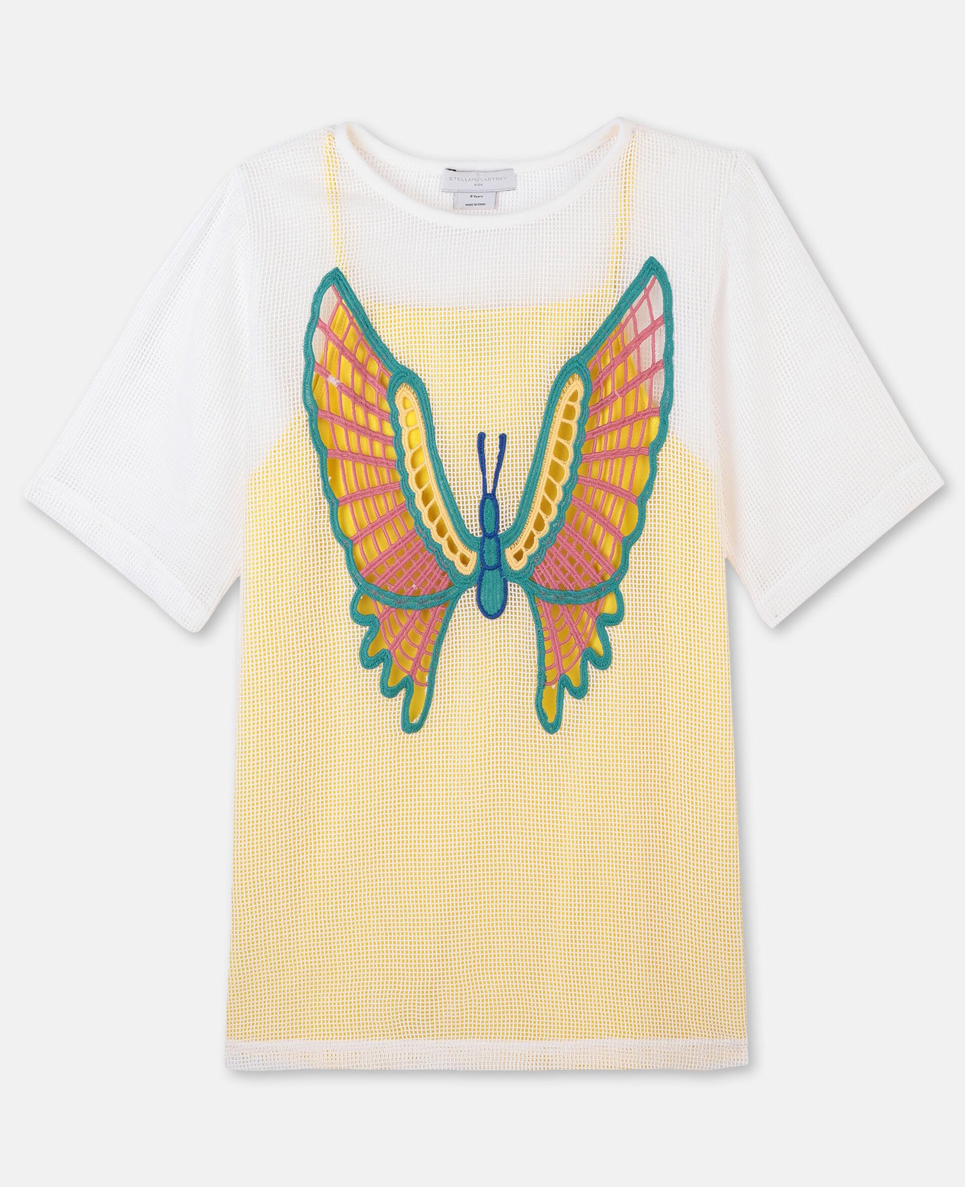 Kleid aus Baumwollmesh mit Schmetterlingen-Weiß-large image number 0