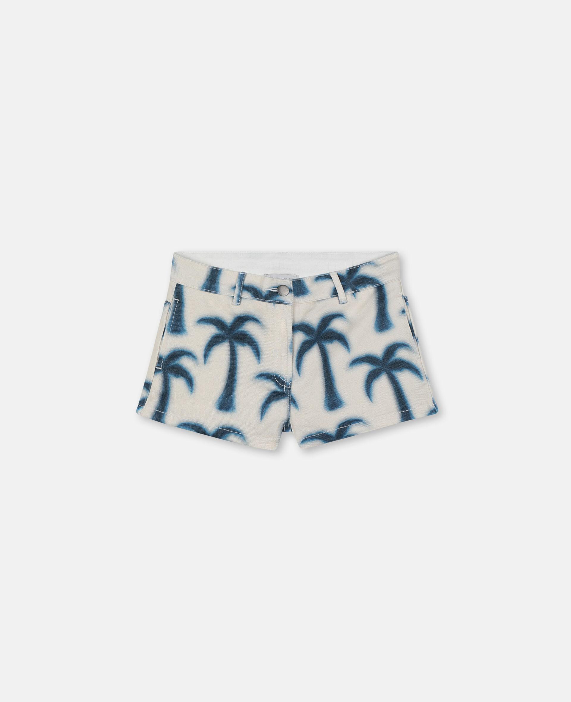 Denim-Shorts mit Palmen-Print-Blau-large image number 0