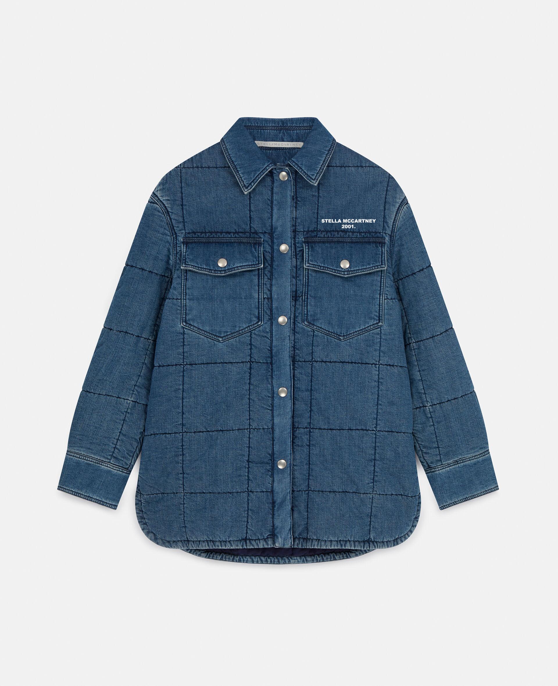 Quilted Denim Shirt-Blue-large image number 0