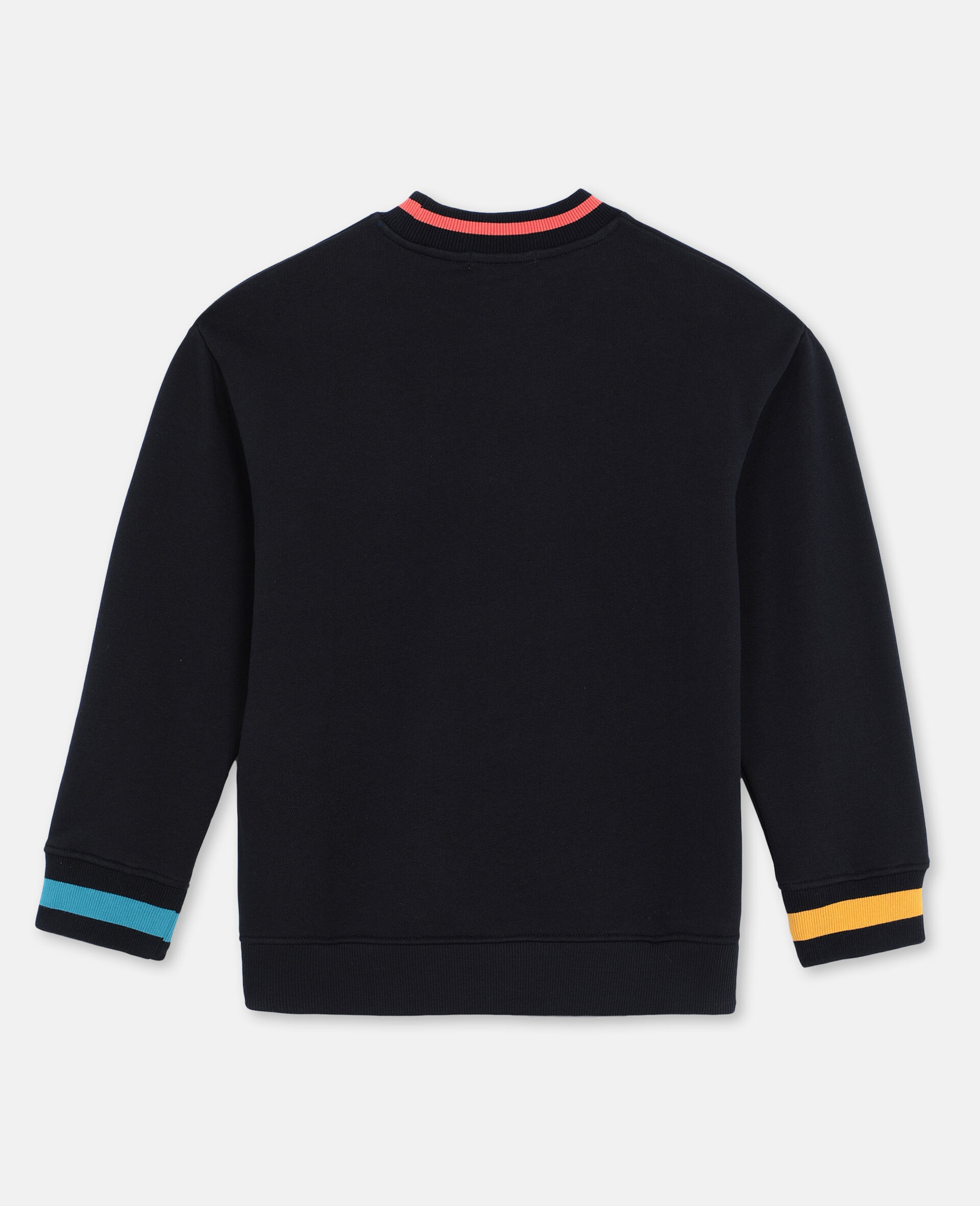 Oversize Skater Cotton Sweatshirt -Black-large image number 3