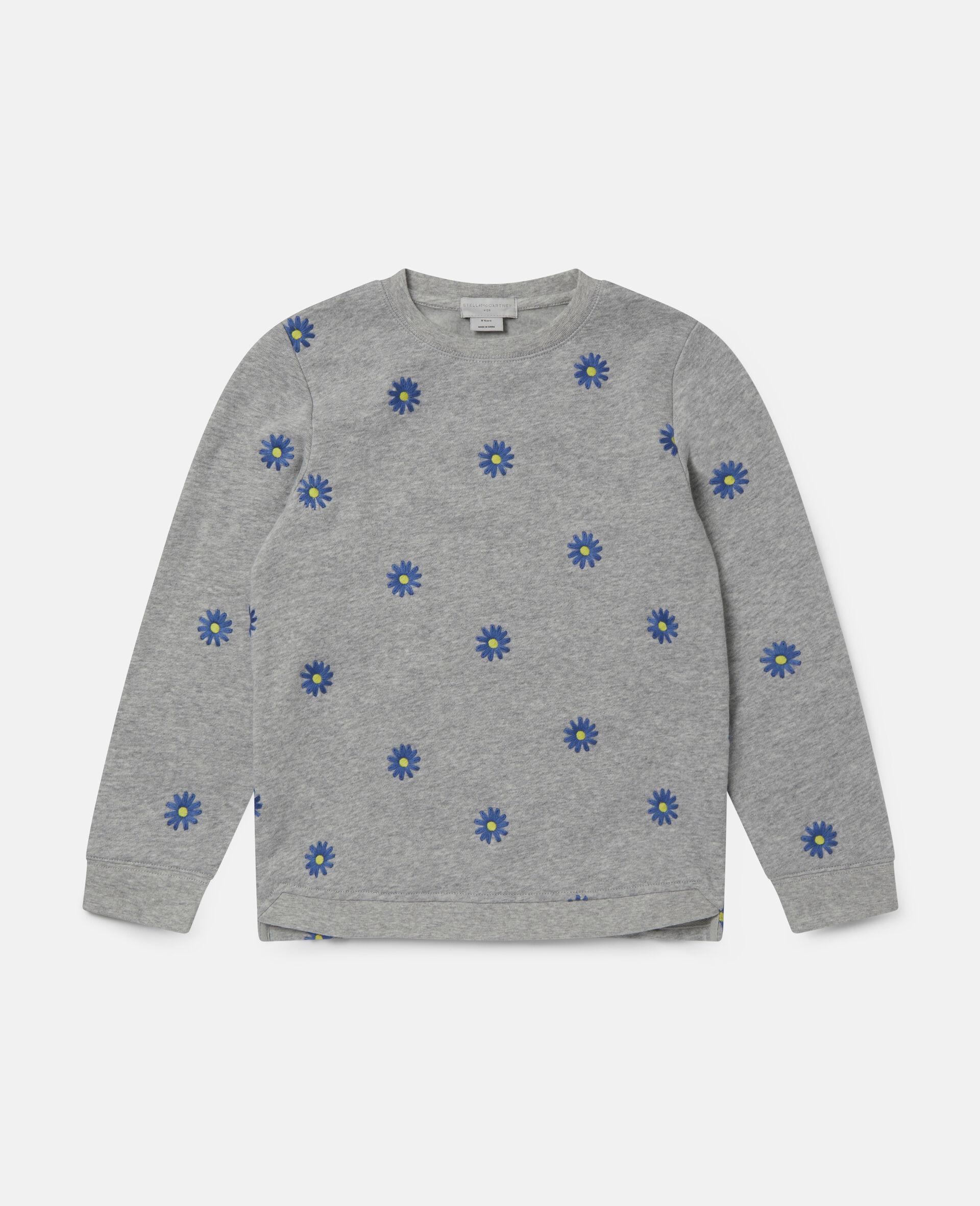 Sweat-shirt en polaire de coton à marguerites brodées -Gris-large image number 0