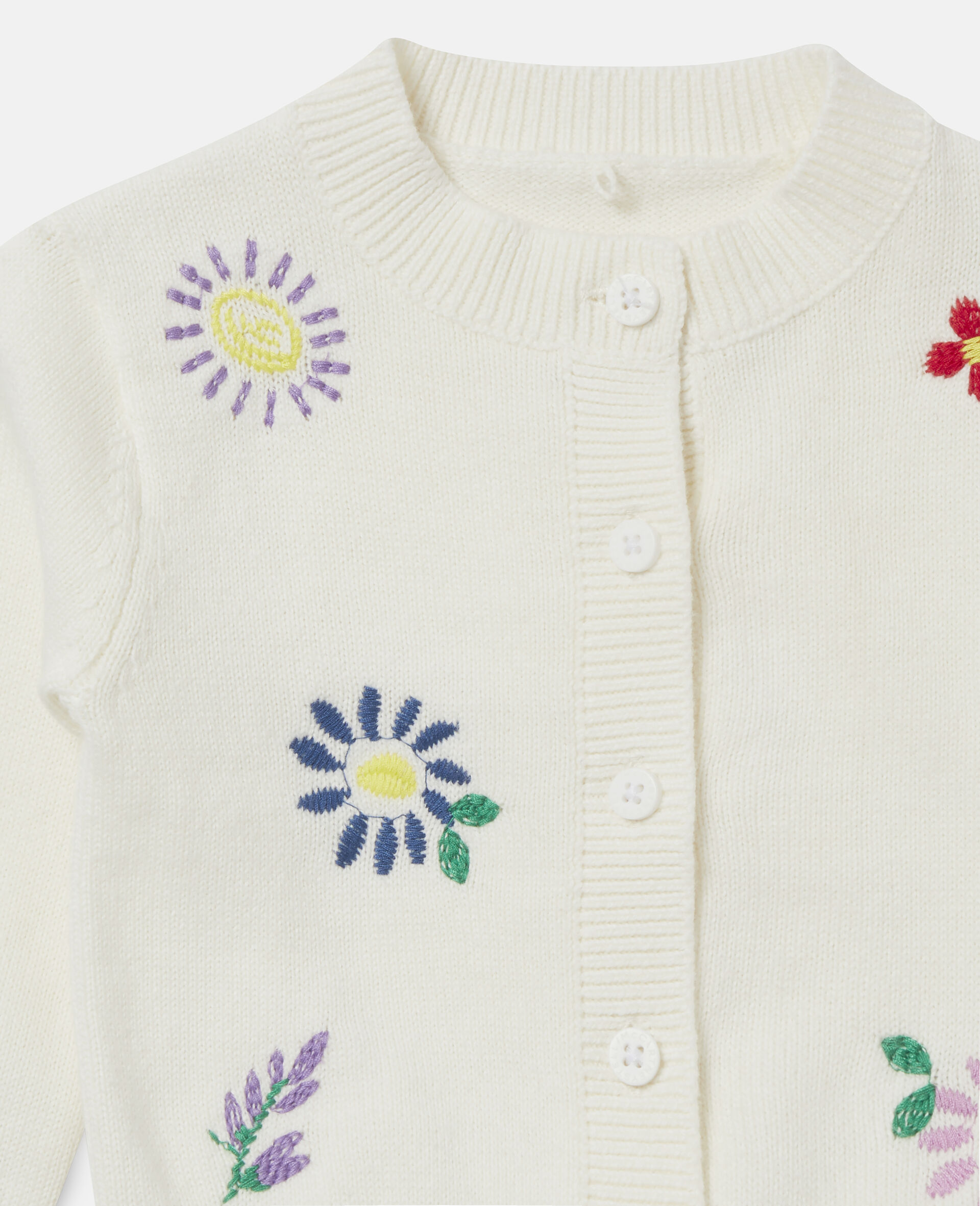 Embroidered Flowers Cardigan-White-large image number 1