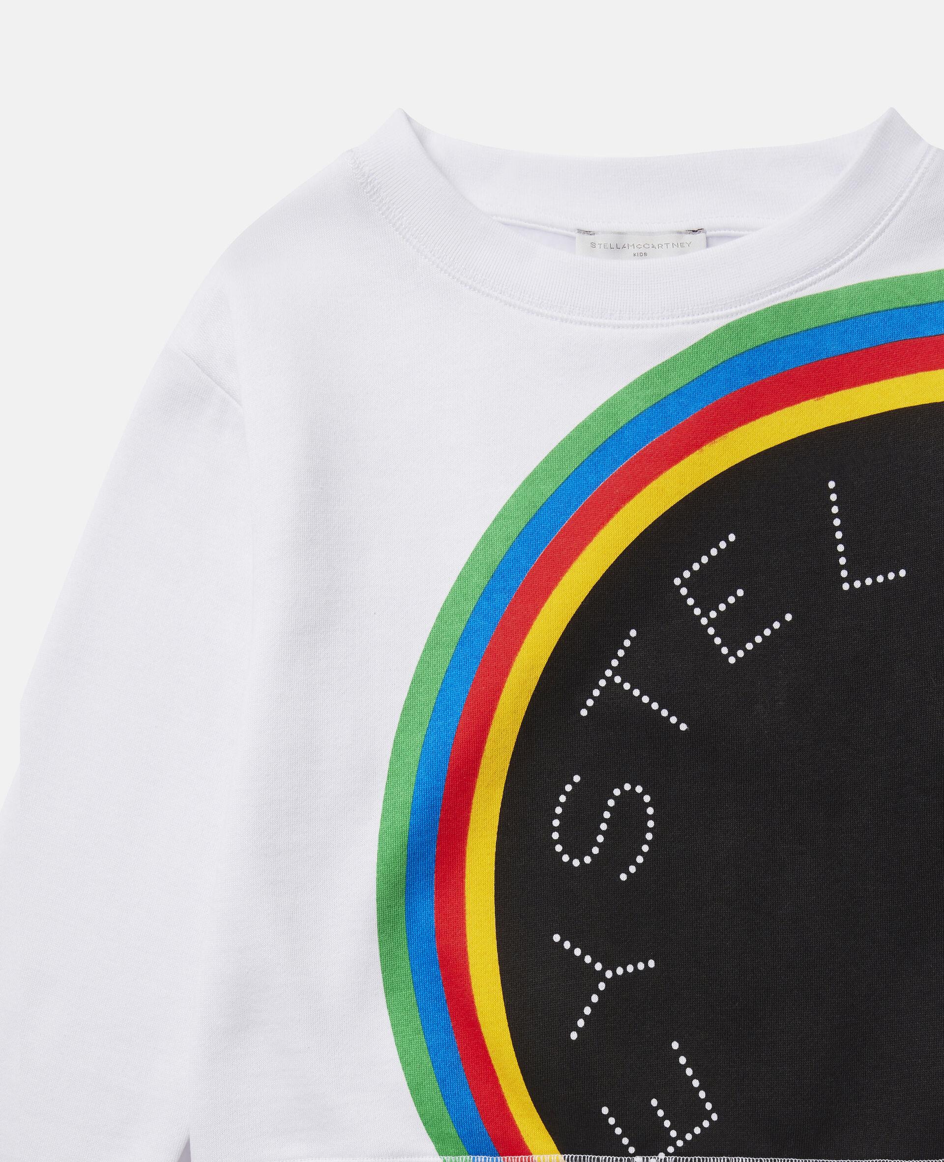 Stripy Logo Fleece Sports Sweatshirt-White-large image number 1