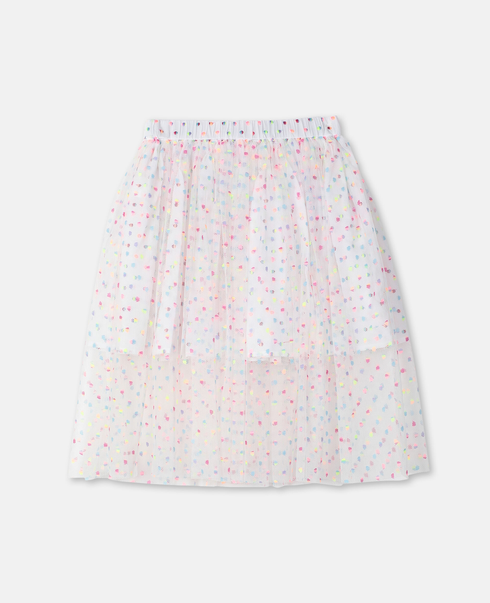Embroidered Dots Tulle Skirt -Multicolour-large image number 3
