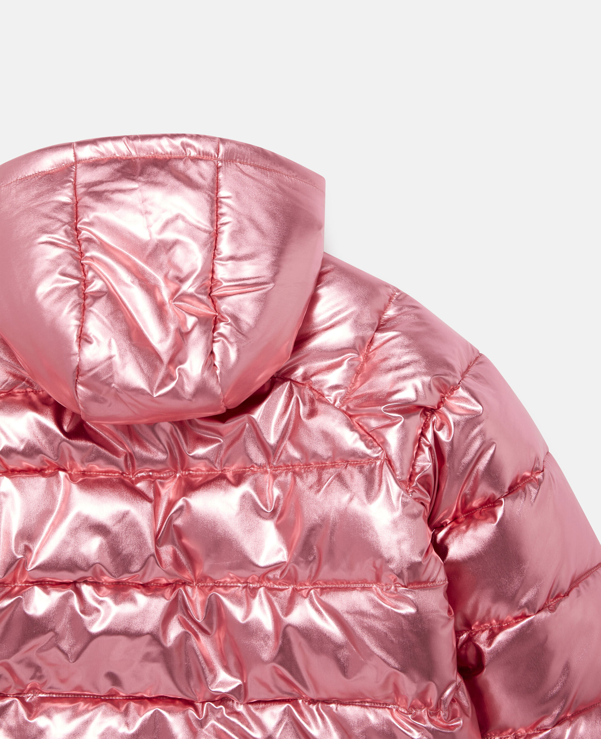 Foiled Hooded Puffer Jacket -Red-large image number 2