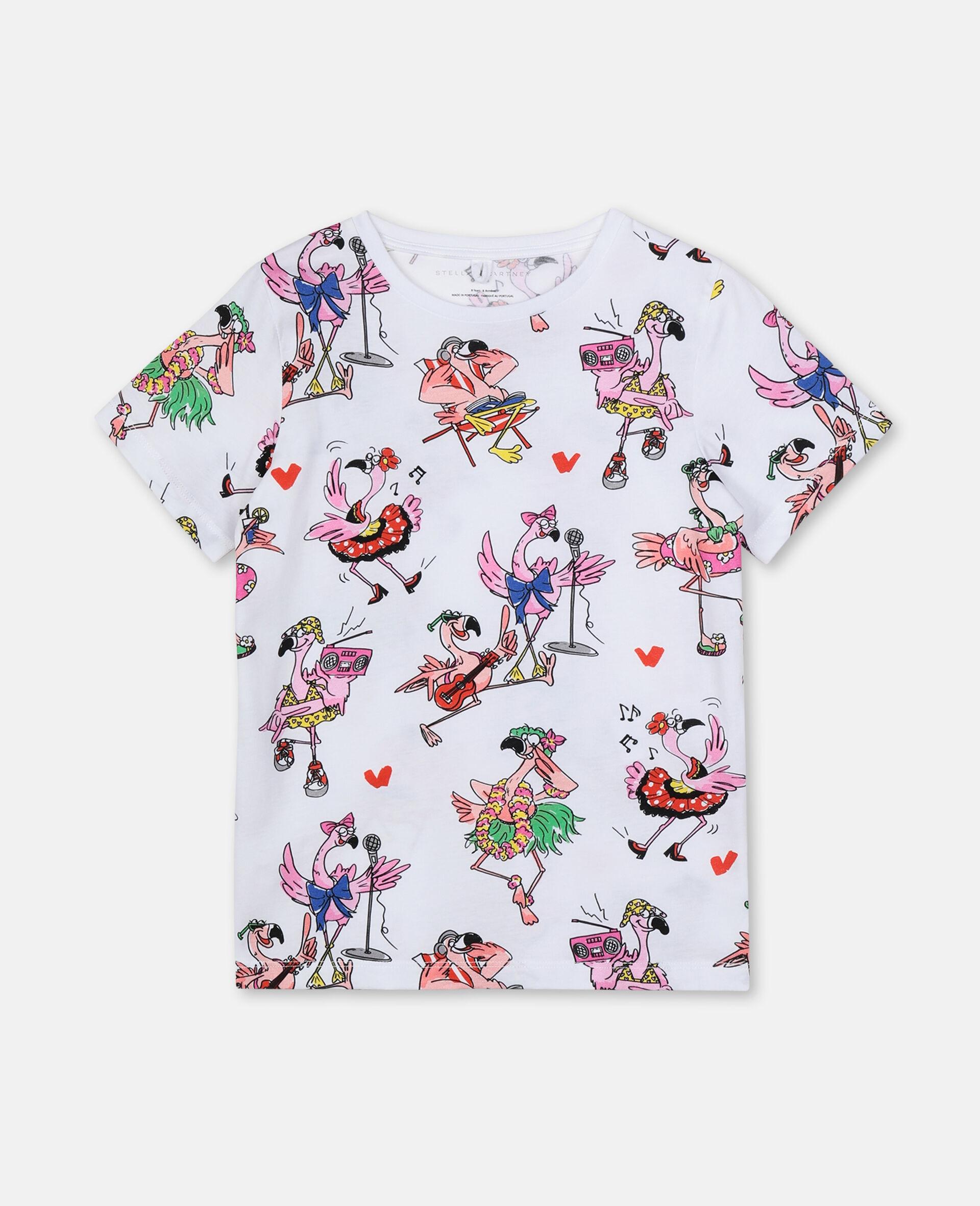 T-shirt en coton avec flamants roses festifs-Fantaisie-large image number 0