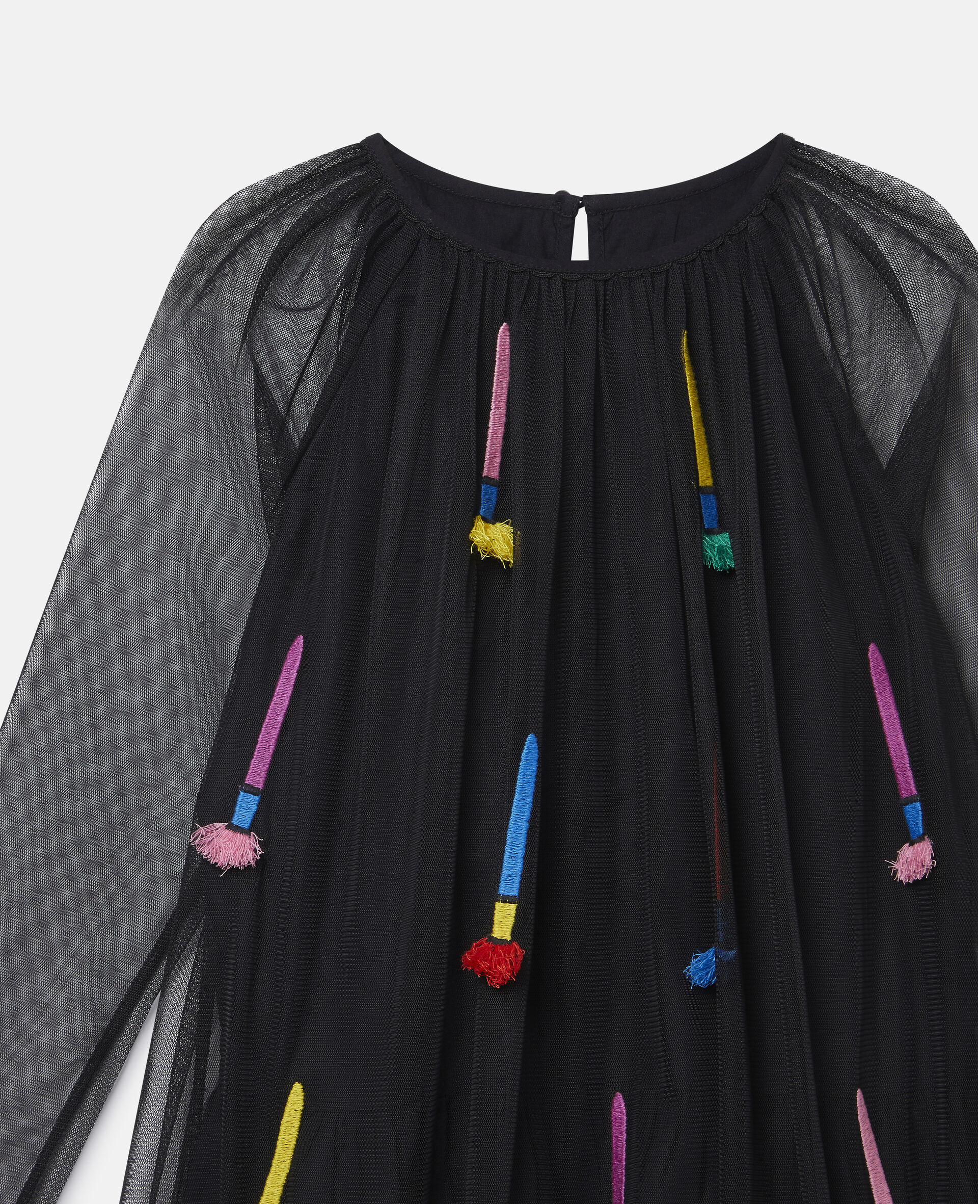 Embroidered Paintbrushes Tulle Dress-Black-large image number 2
