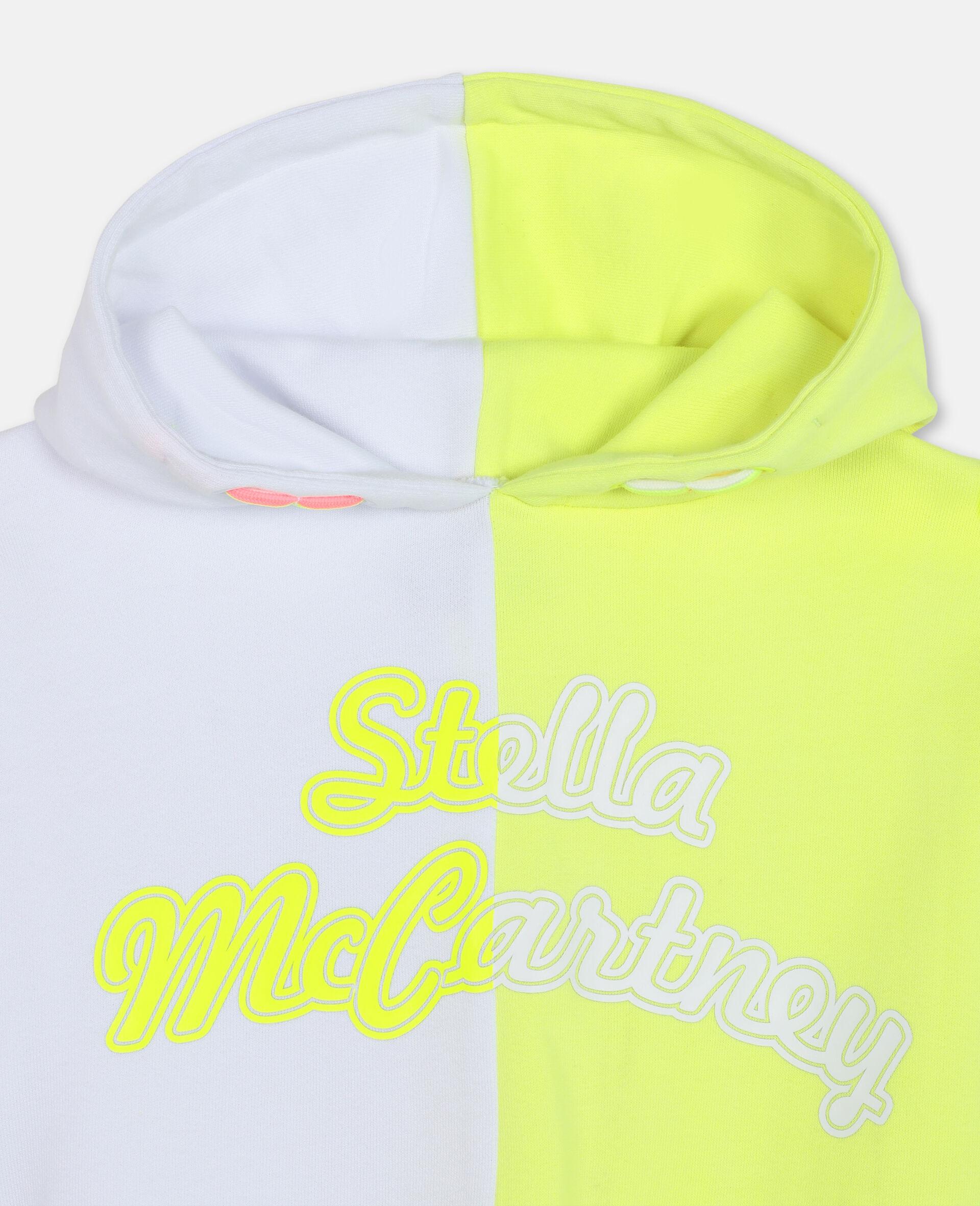 Sweat-shirt à capuche de sport en molleton de coton avec logo-Blanc-large image number 1