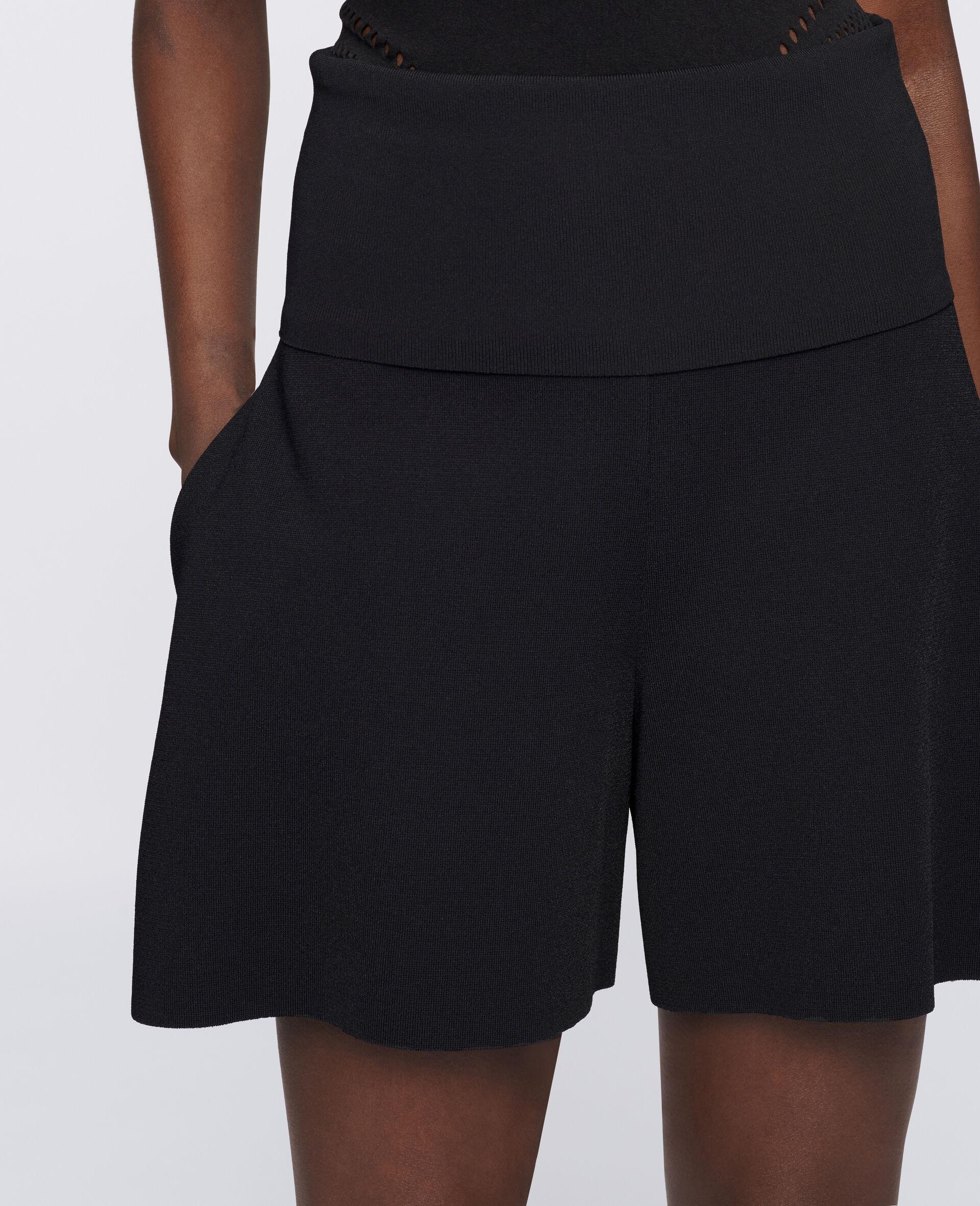 Shorts aus kompaktem Strick-Schwarz-large image number 3