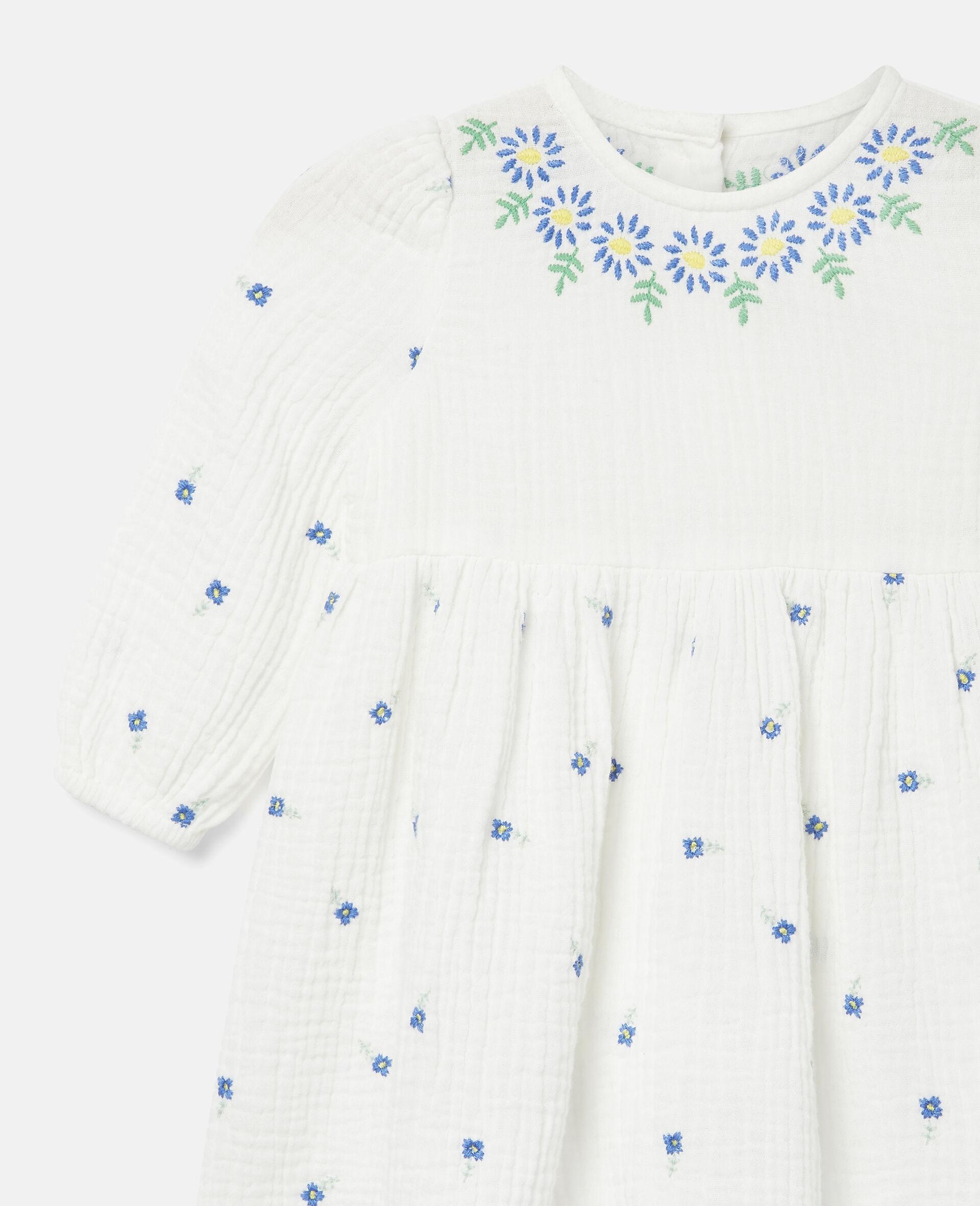 Robe en coton à fleurs brodées-Blanc-large image number 2