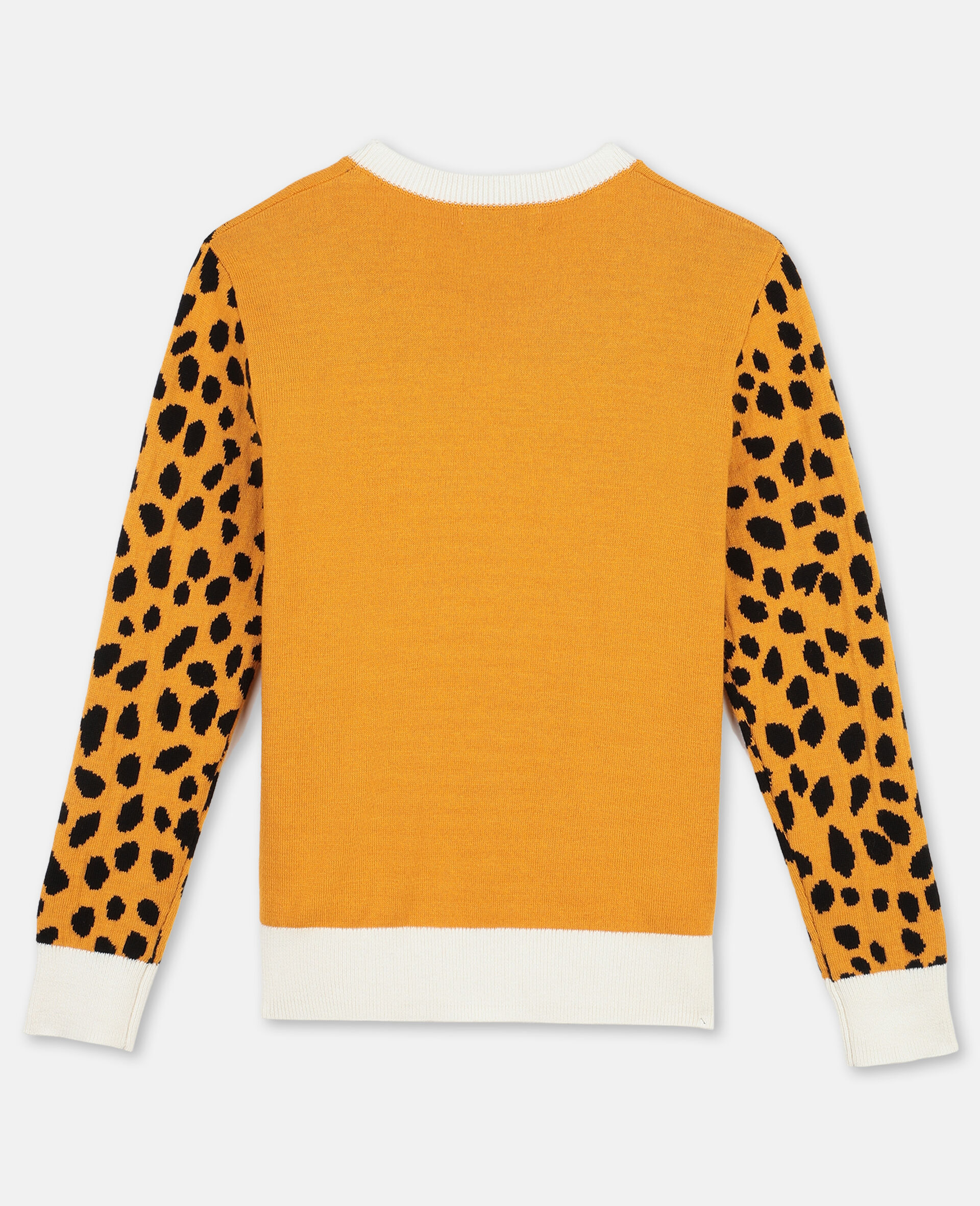 Pull en maille intarsia à motif guépard -Orange-large image number 3