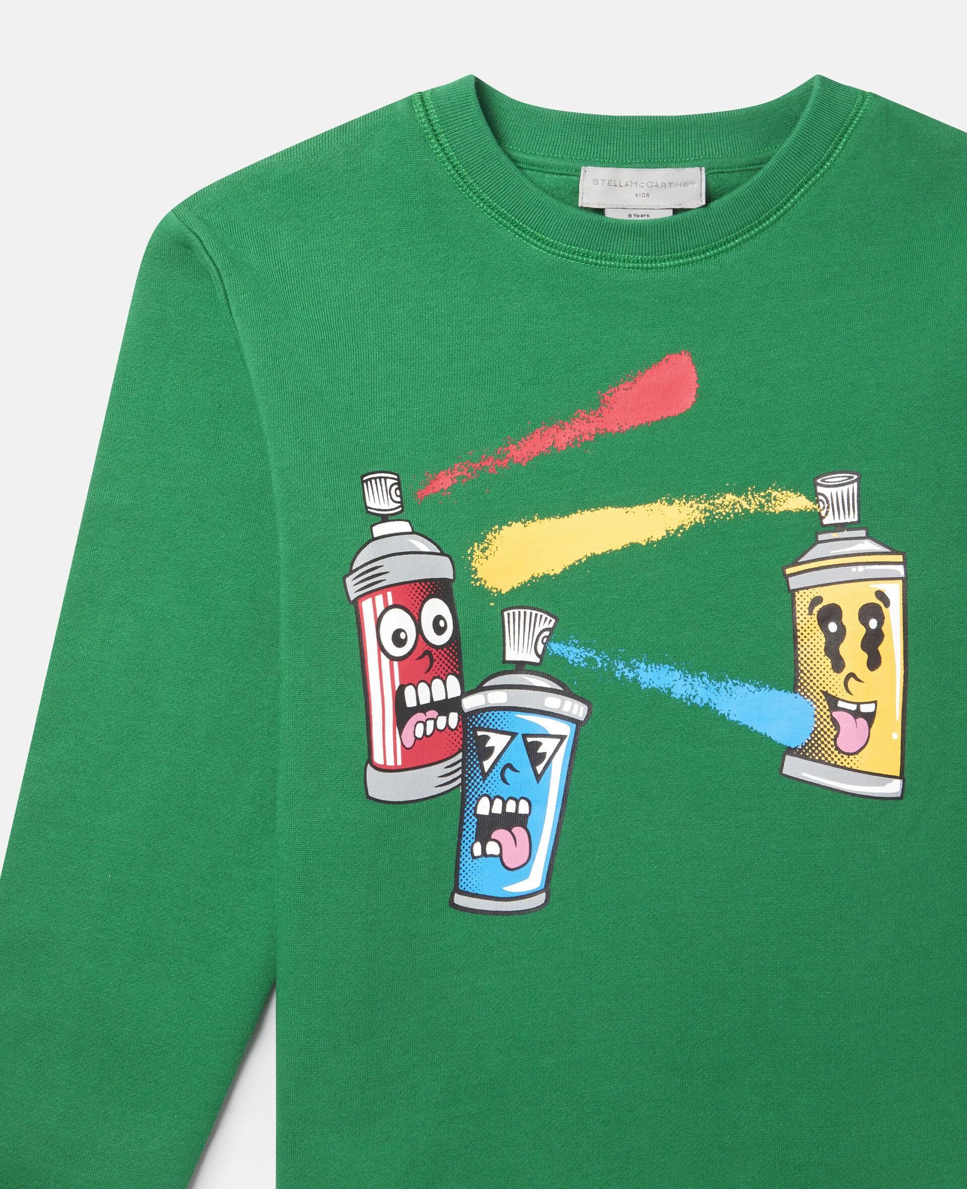 Spray Gang Fleece Sweatshirt-Green-large image number 1