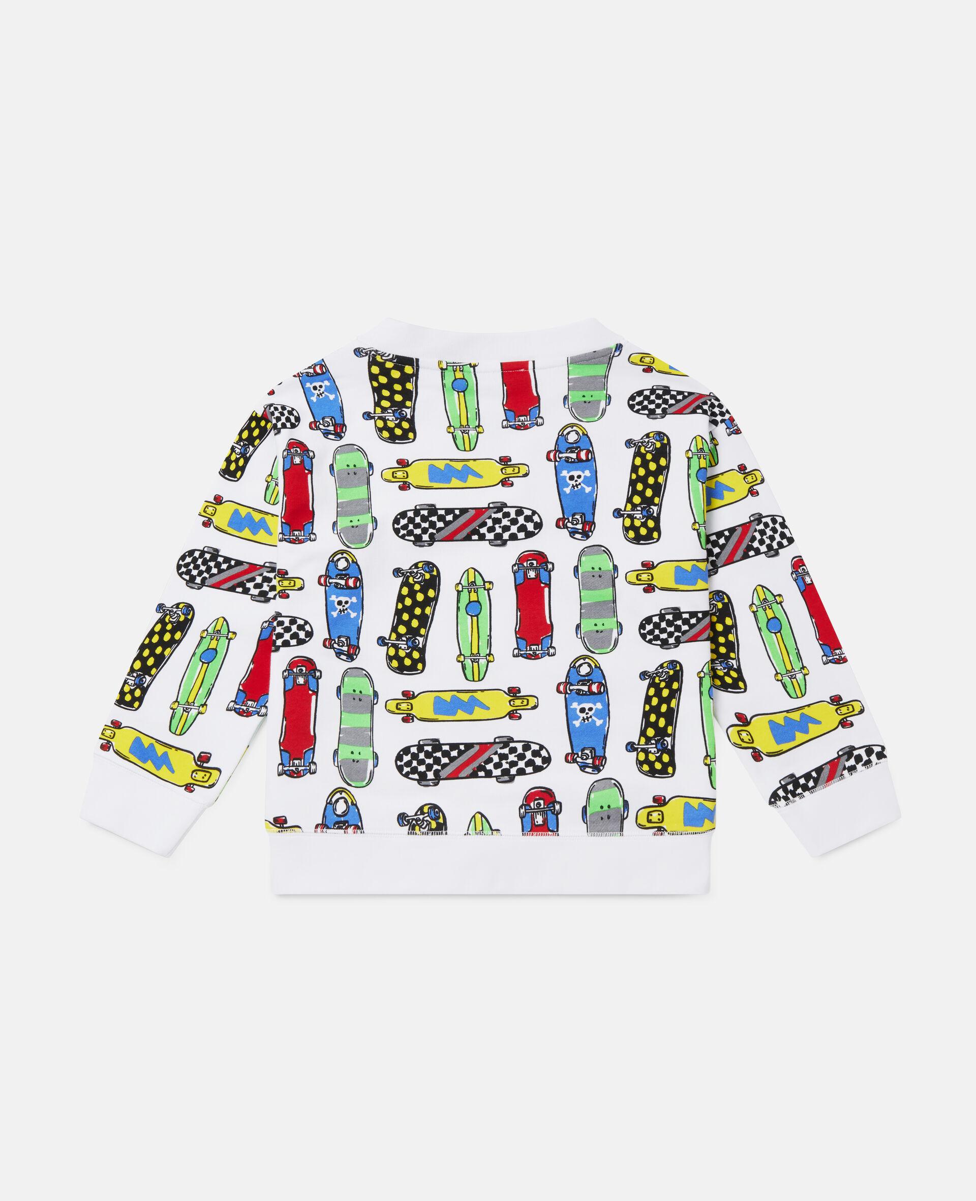 Übergroßes Fleece-Sweatshirt mit Skateboardmotiv-Weiß-large image number 3