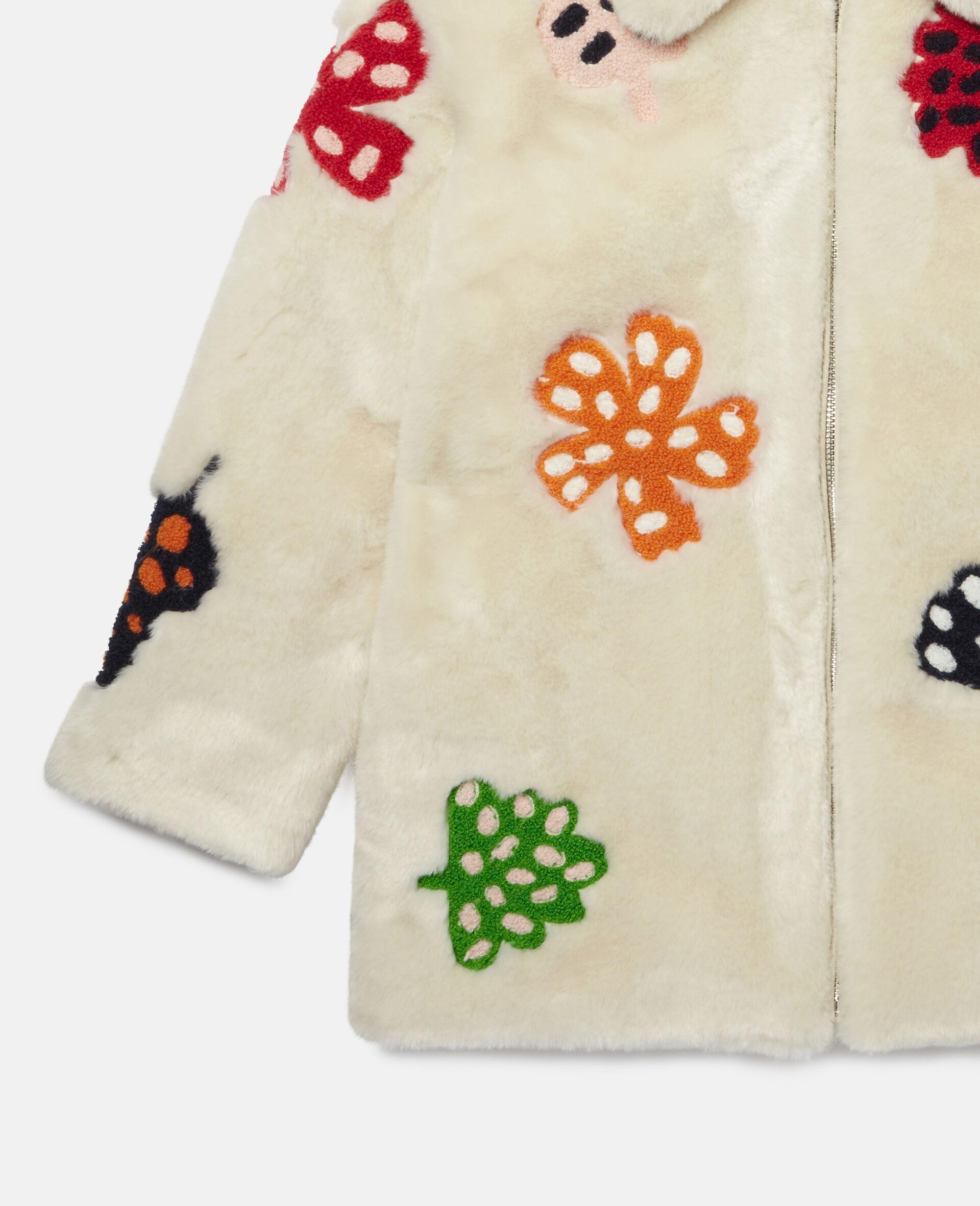 Jacke aus FFF mit gepunkteter Blumen-Stickerei -Weiß-large image number 1