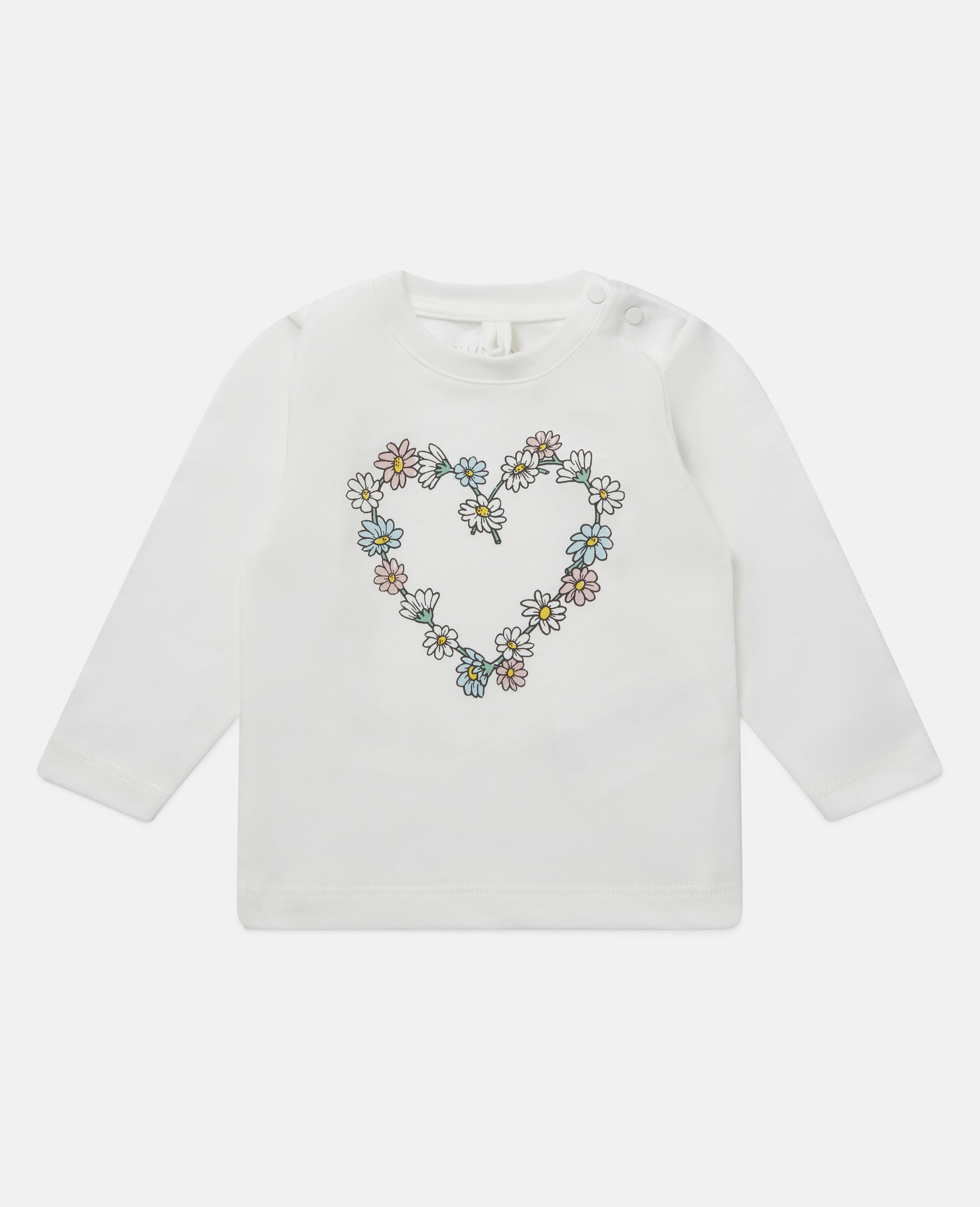 Daisy Heart Cotton Top-White-large image number 0