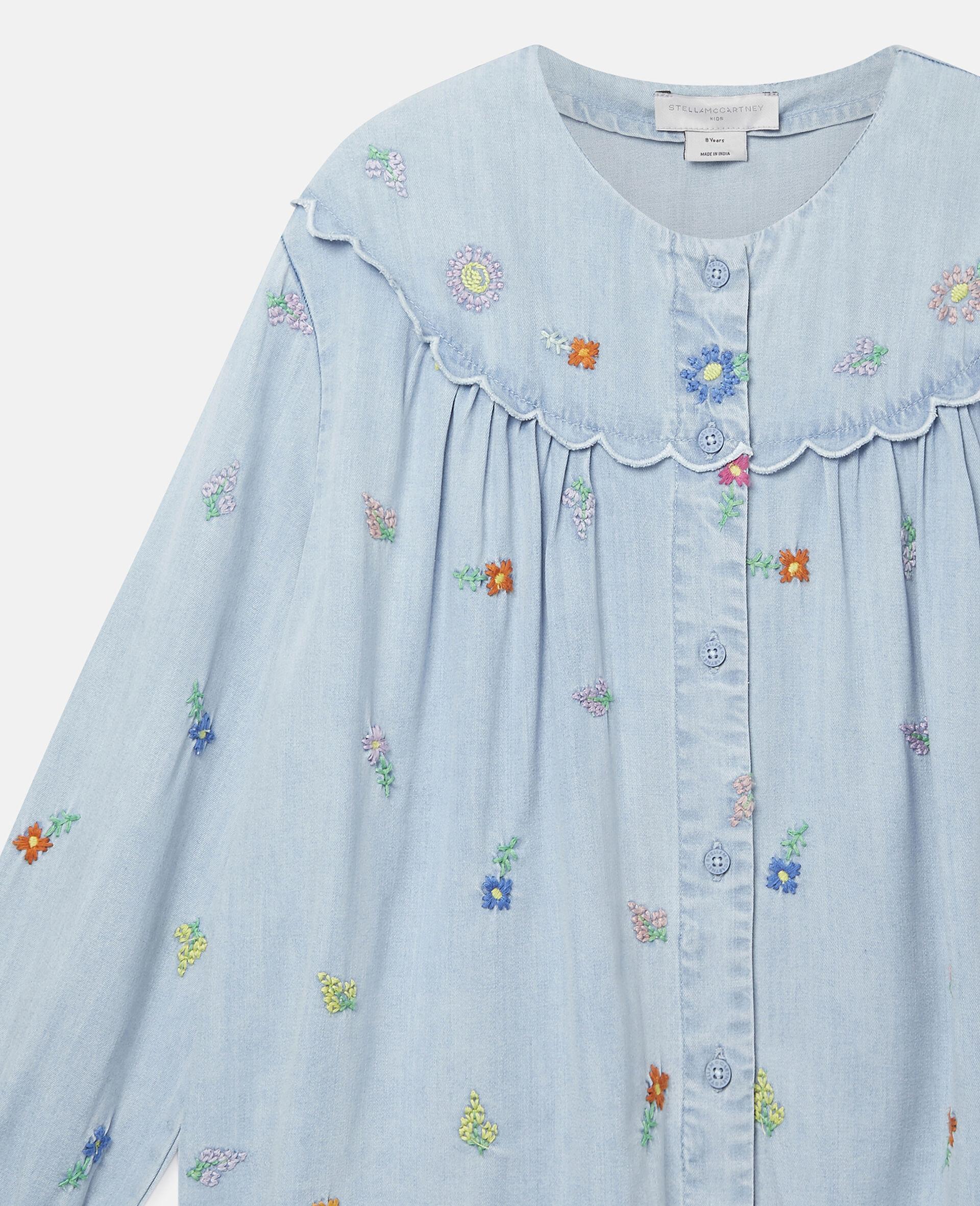 Embroidered Flowers Denim Shirt-Blue-large image number 2