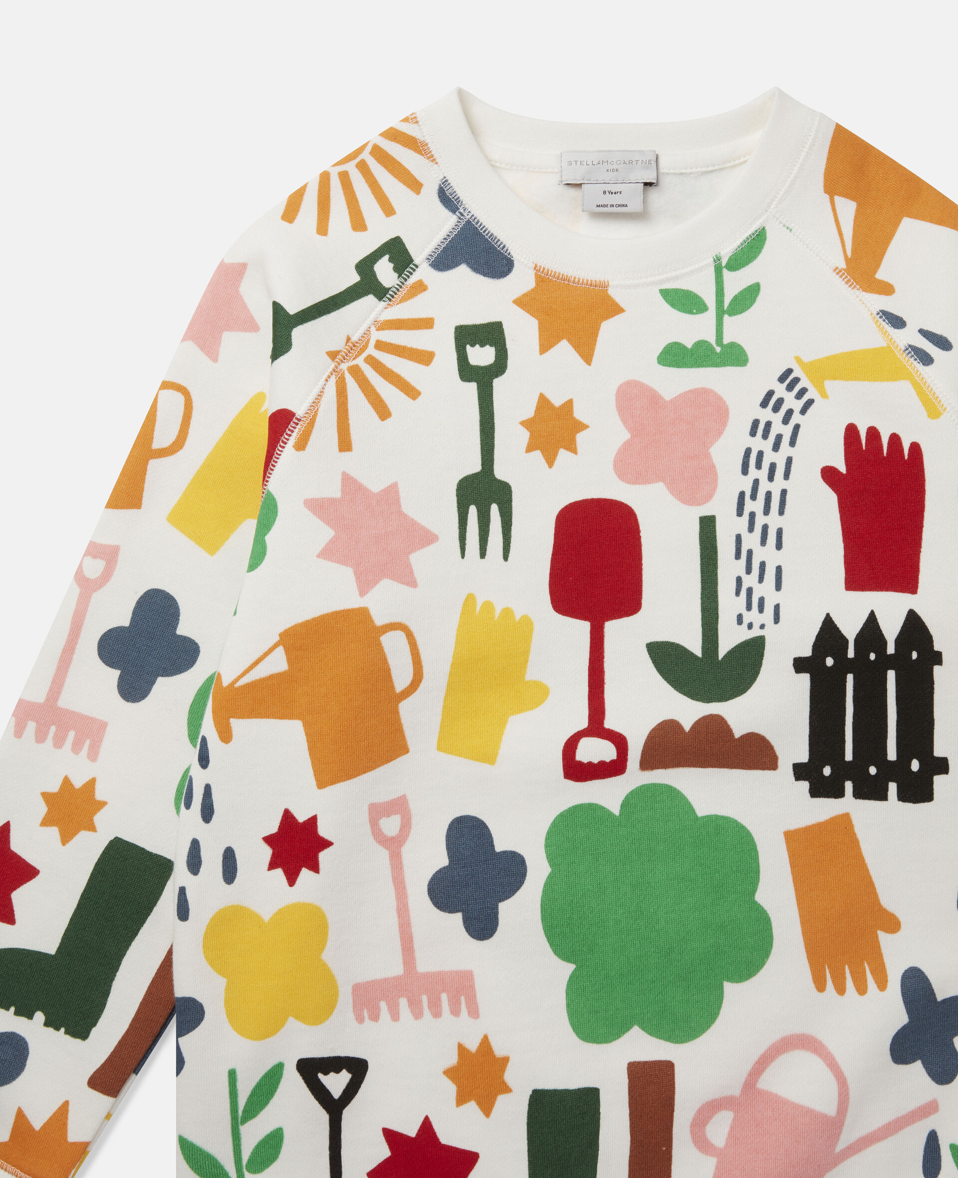 Sweat-shirt en polaire motifs jardin-Blanc-large image number 1