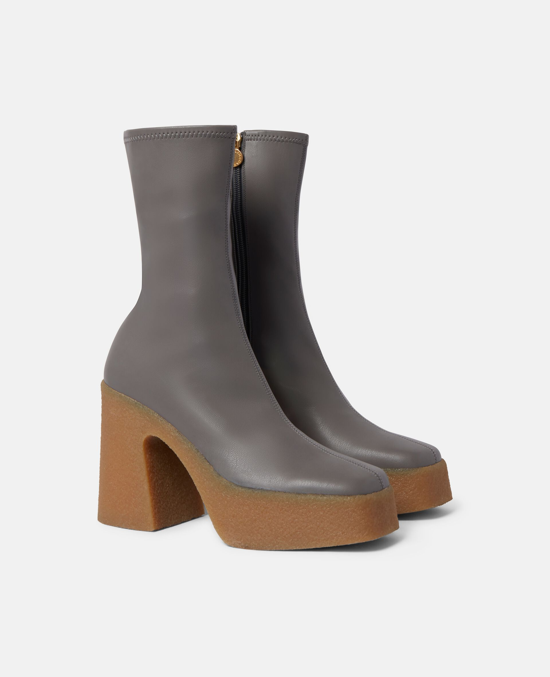 Chunky Ankle Boots-Grey-large image number 1