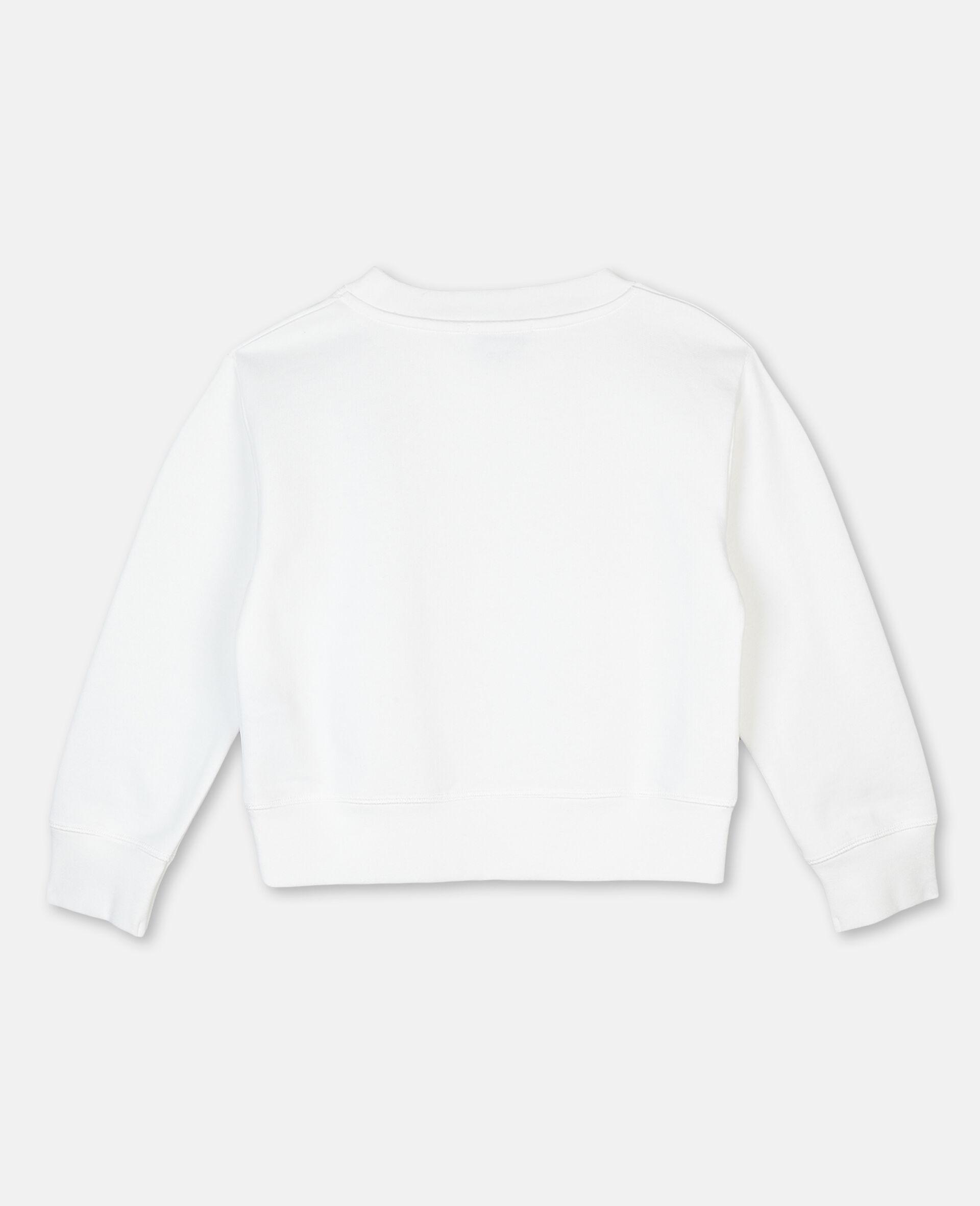 Sweat-shirt en molleton motif palmier et logo -Blanc-large image number 3