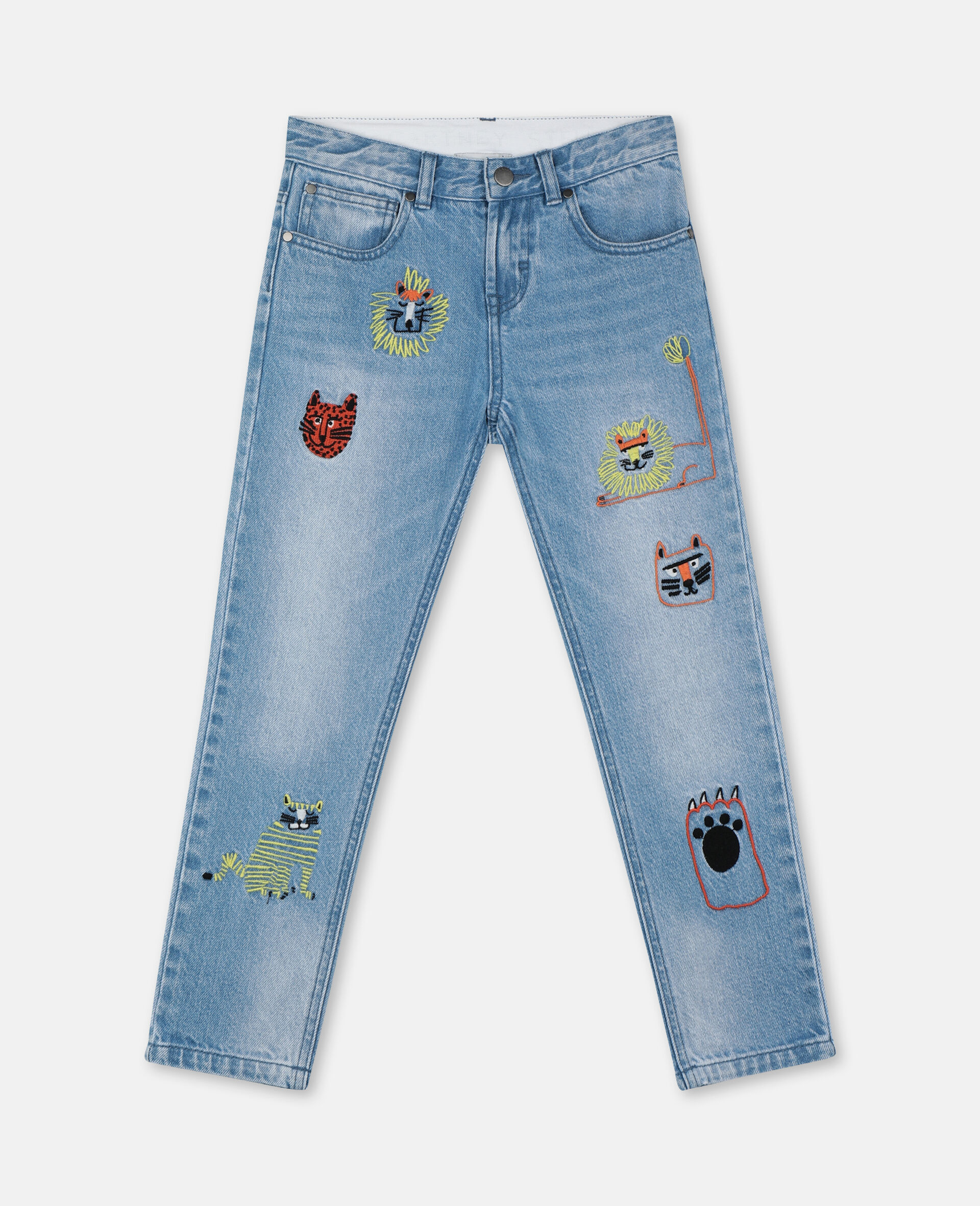 Embroidered Cats Boyfriend Denim Trousers-Blue-large image number 0