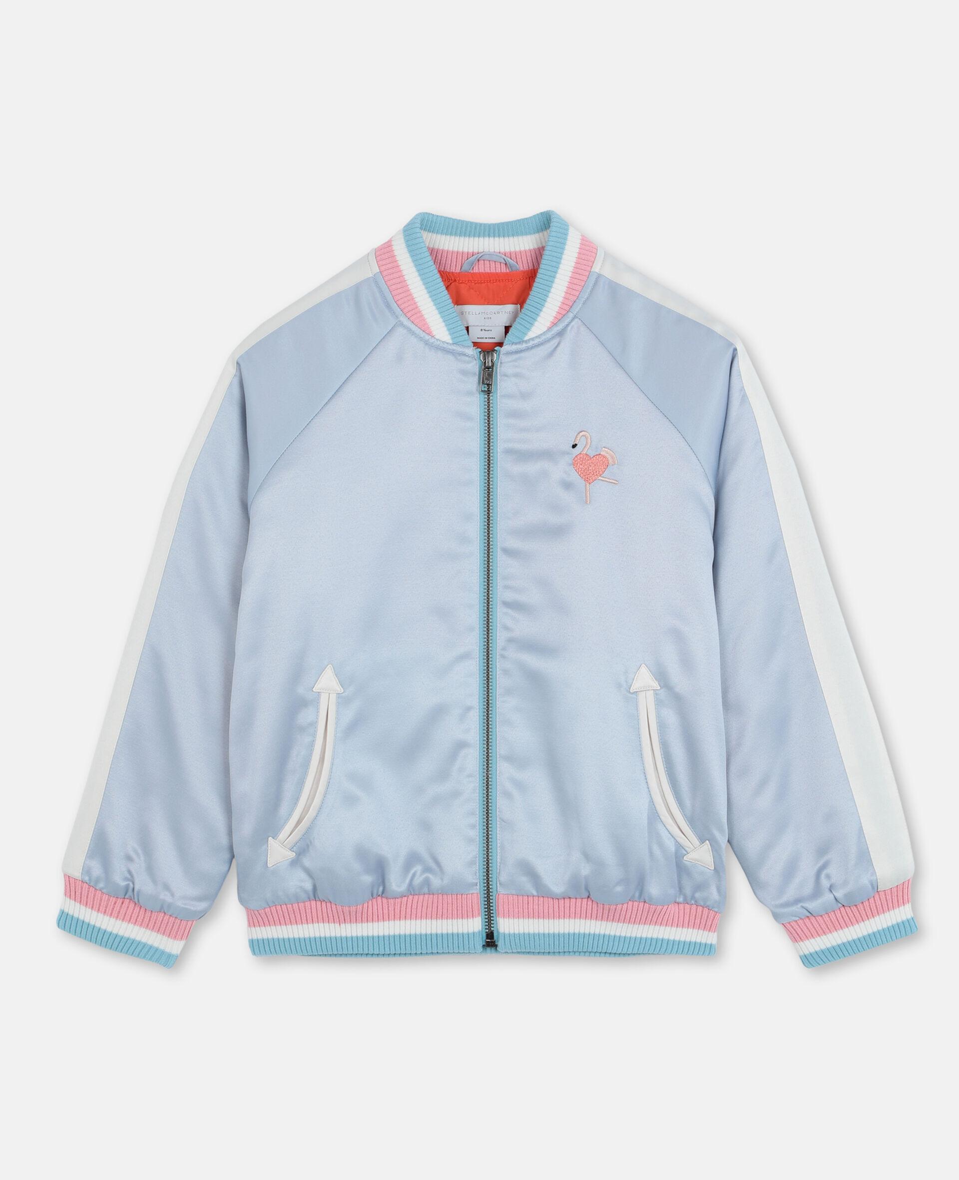 Embroidered Flamingo Satin Bomber -Blue-large image number 0