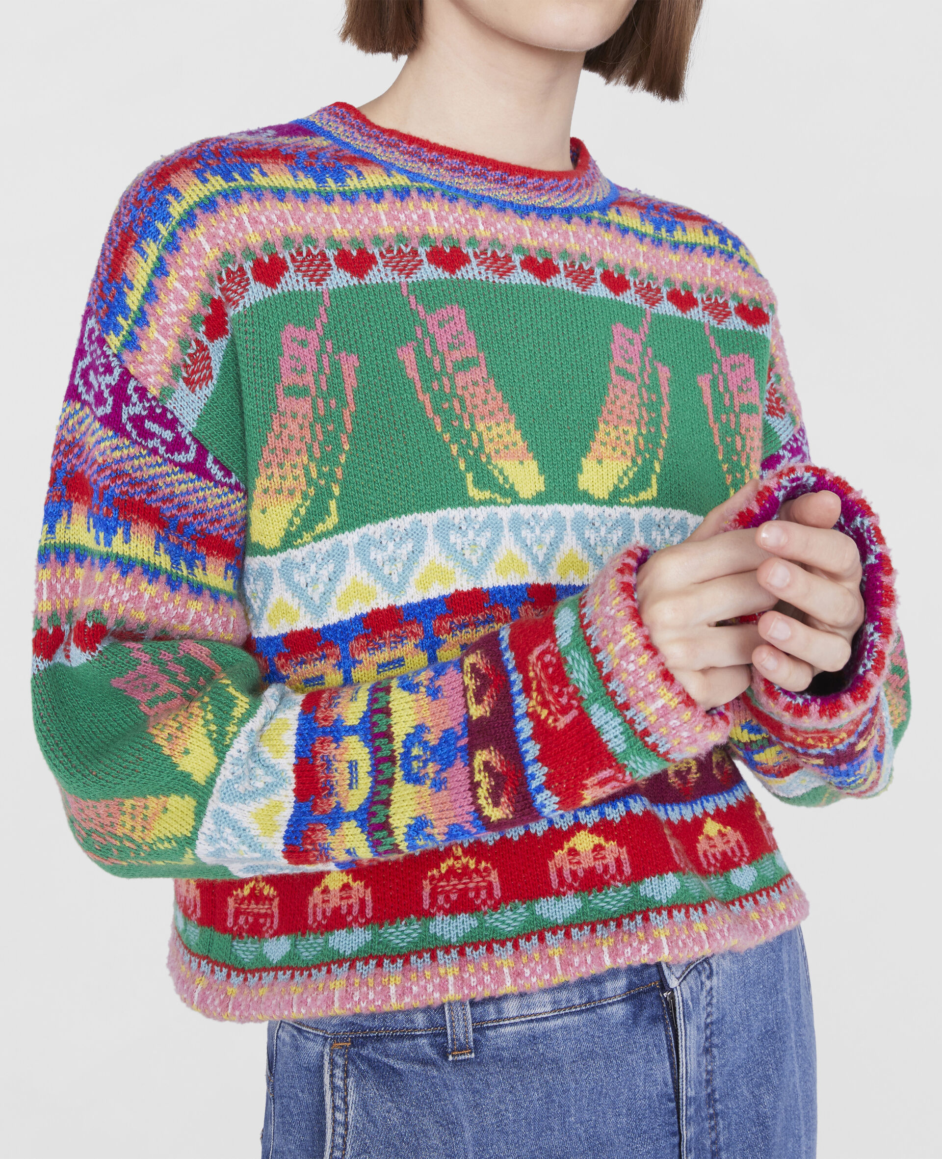 Keep In Touch' Cropped Sweater-Multicolour-large image number 3