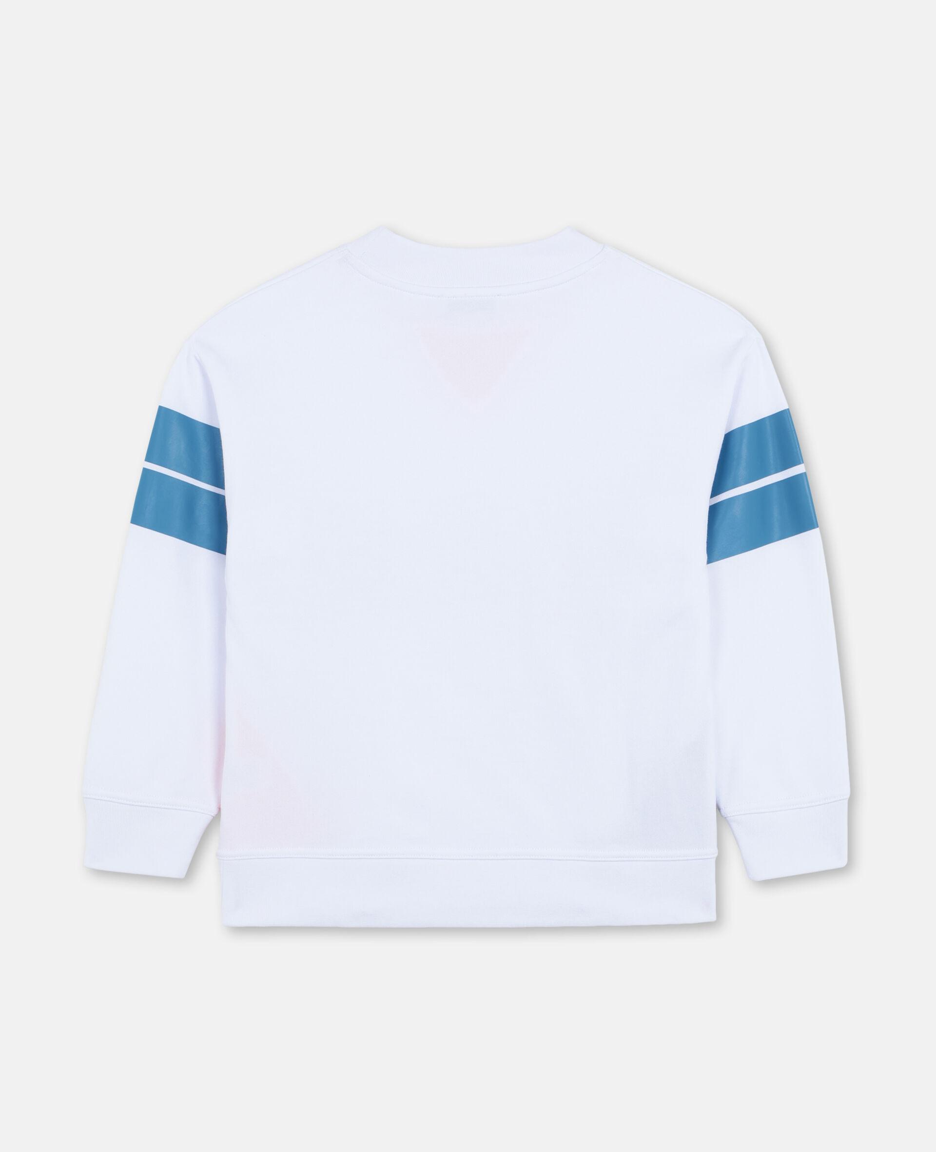 Felpa Oversize Sportiva con Logo -Bianco-large image number 3