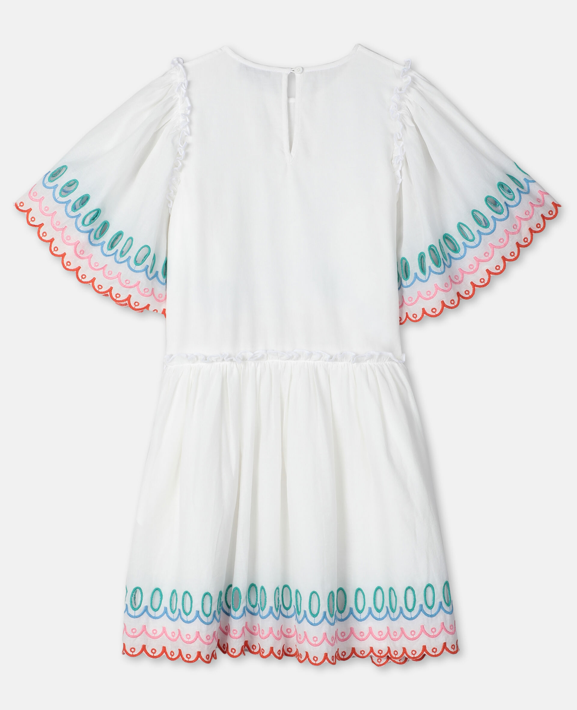 Scalloped Cotton Dress-White-large image number 3