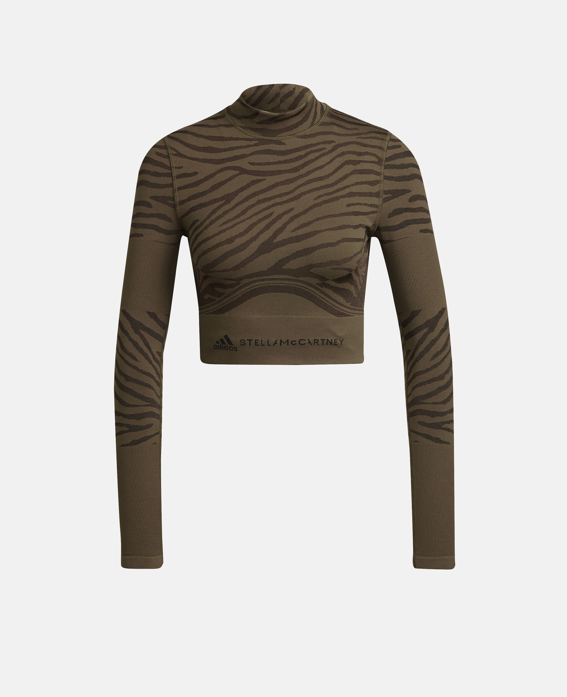 Dark Khaki Training Crop Top-Brown-large image number 0