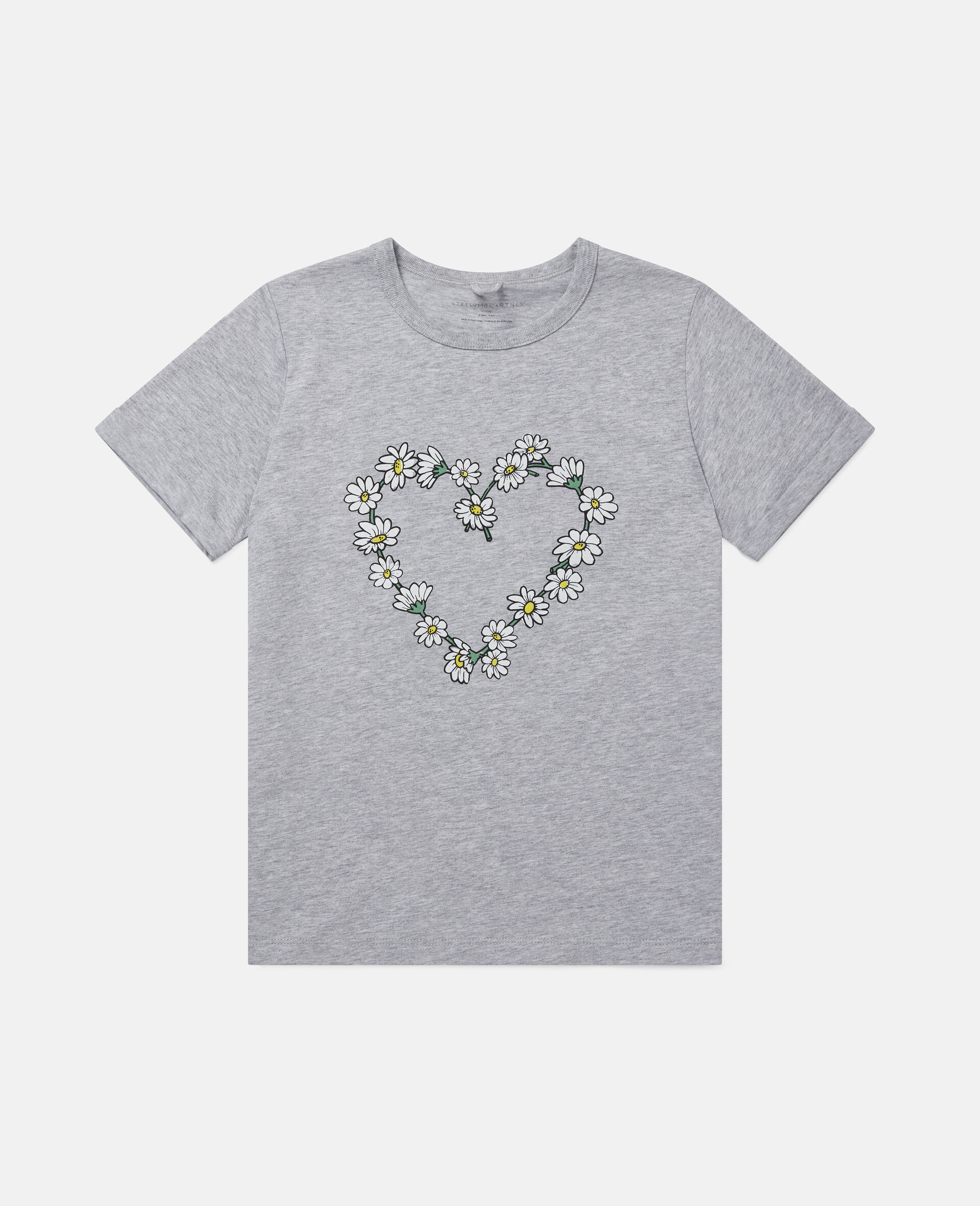 Daisy Heart Cotton T-Shirt-Grey-large image number 0