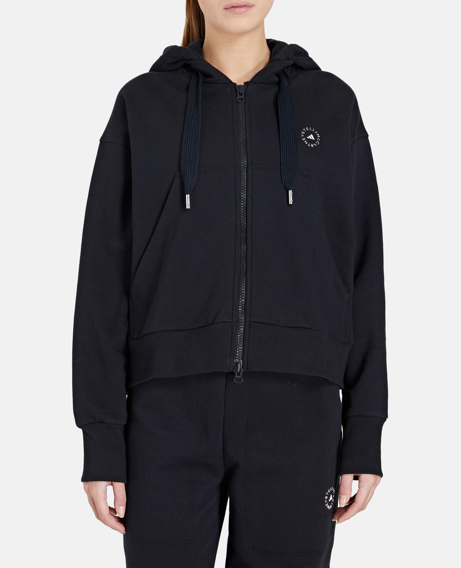 Black Full-zipper Cropped Hoodie-Black-large image number 4