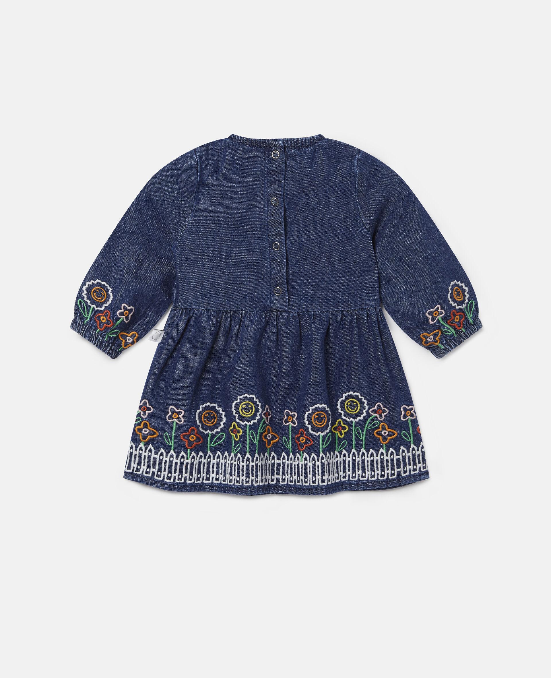 Embroidered Garden Denim Dress-Blue-large image number 3