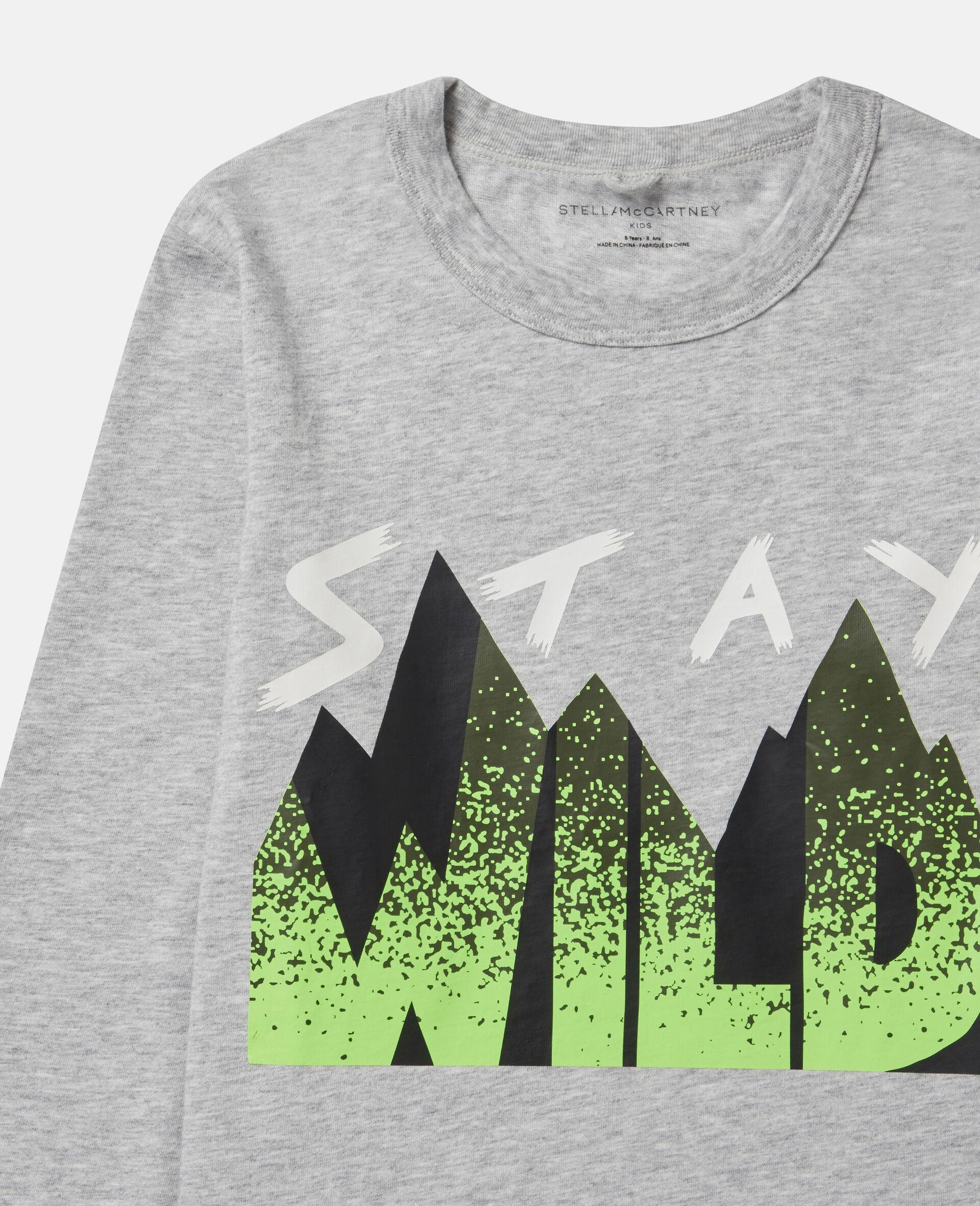 """Übergroßes Top mit """"Stay Wild""""-Print-Grau-large image number 1"""